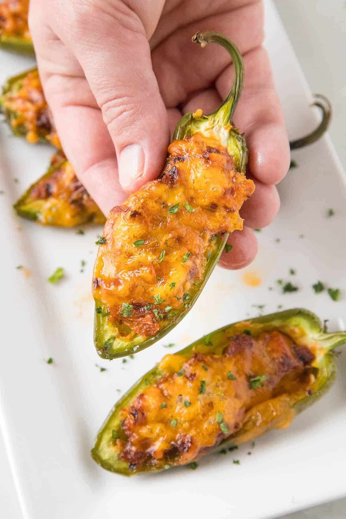 Pulled Pork-Sriracha Jalapeno Poppers - In my hand. I'm ready to eat it!