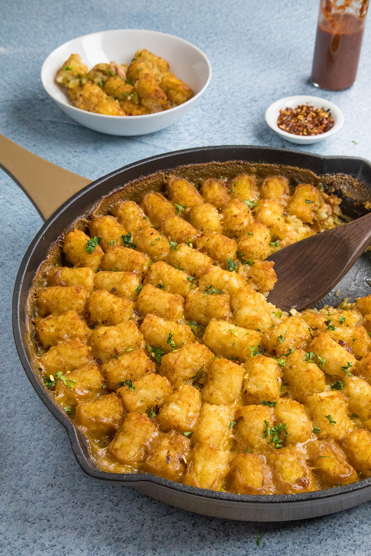 Cajun Ham and Turkey Tater Tot Casserole