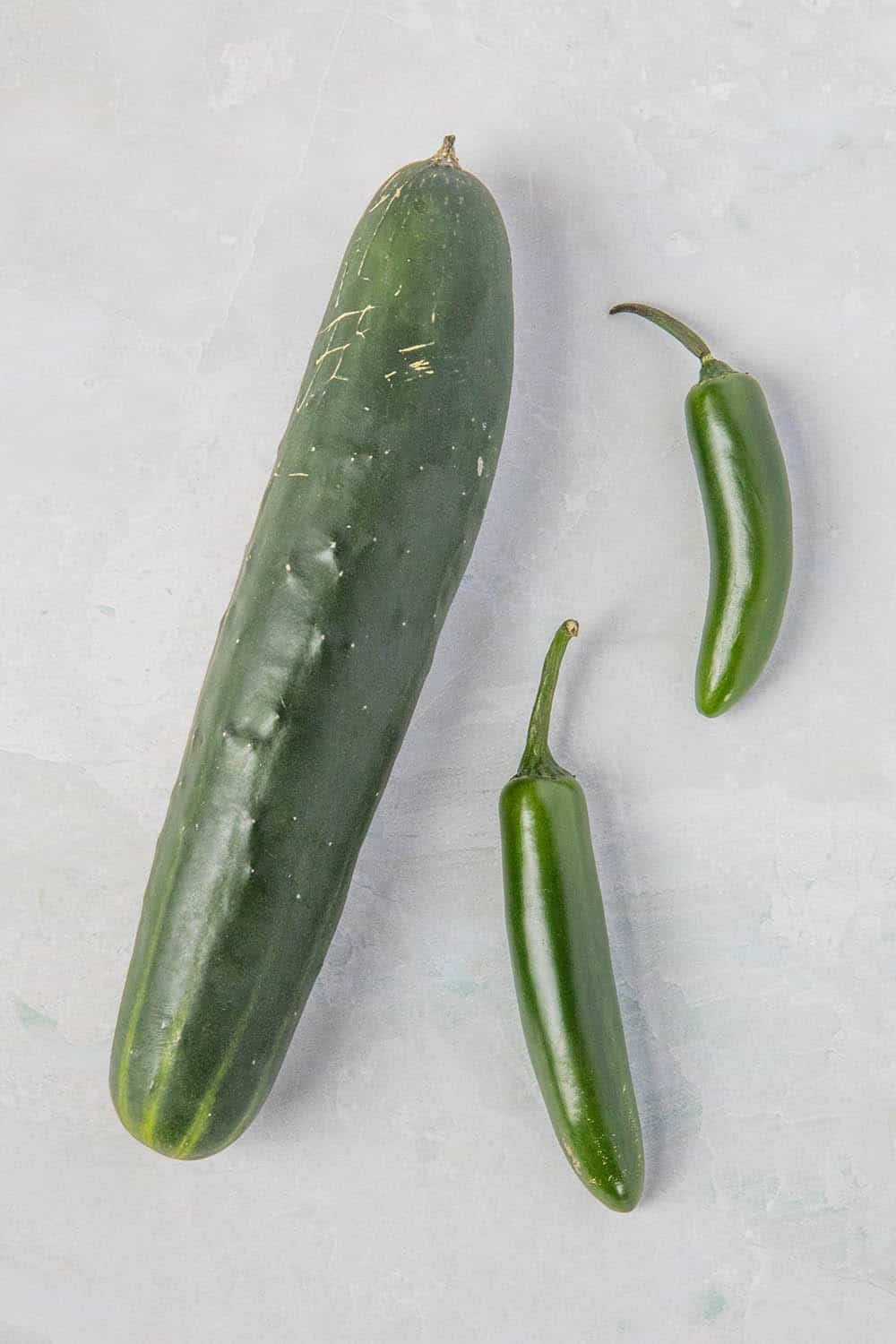 Cucumbers and serrano peppers