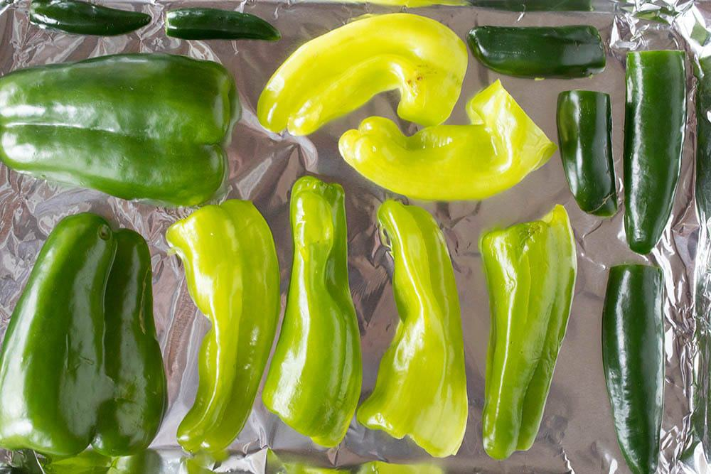 Green chili peppers, ready for roasting