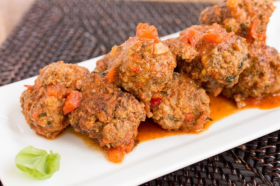 Spicy Italian Meatballs - On a platter, ready to serve