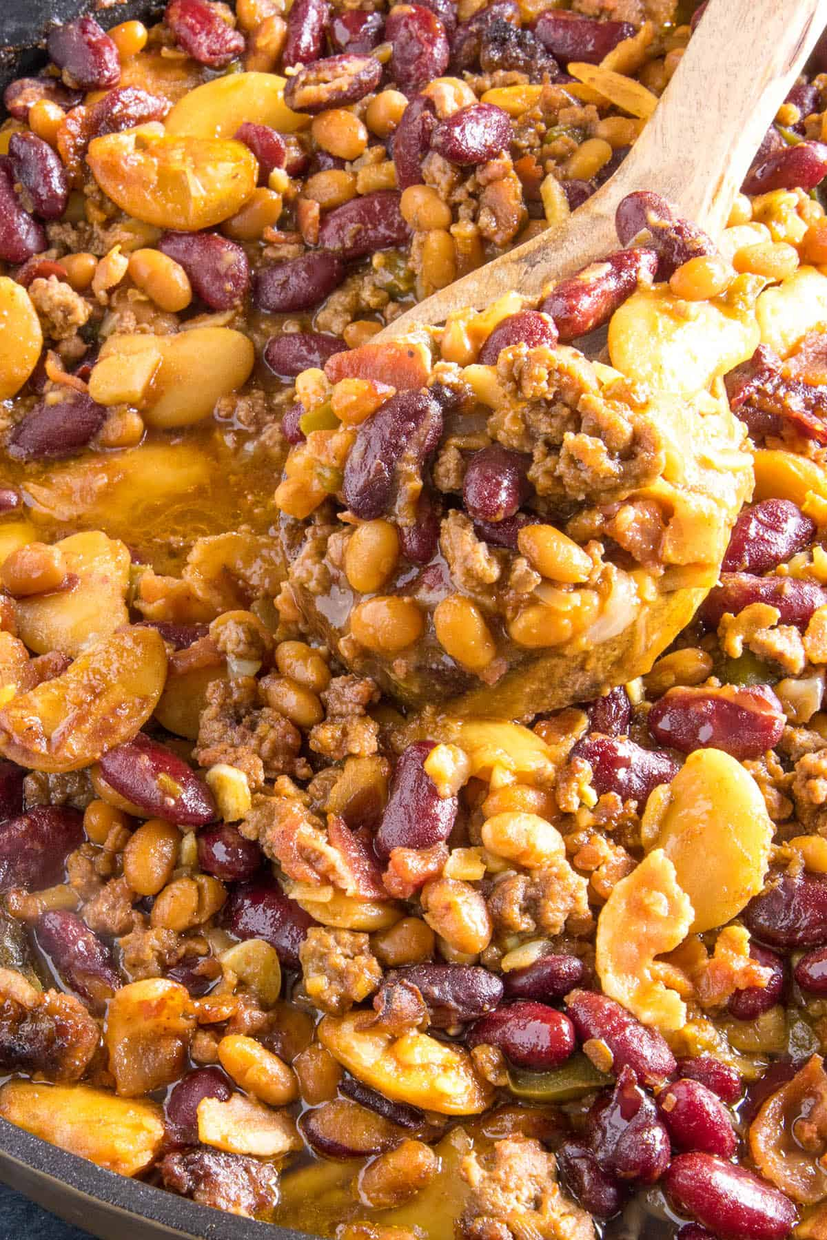 Cowboy Beans on a spoon