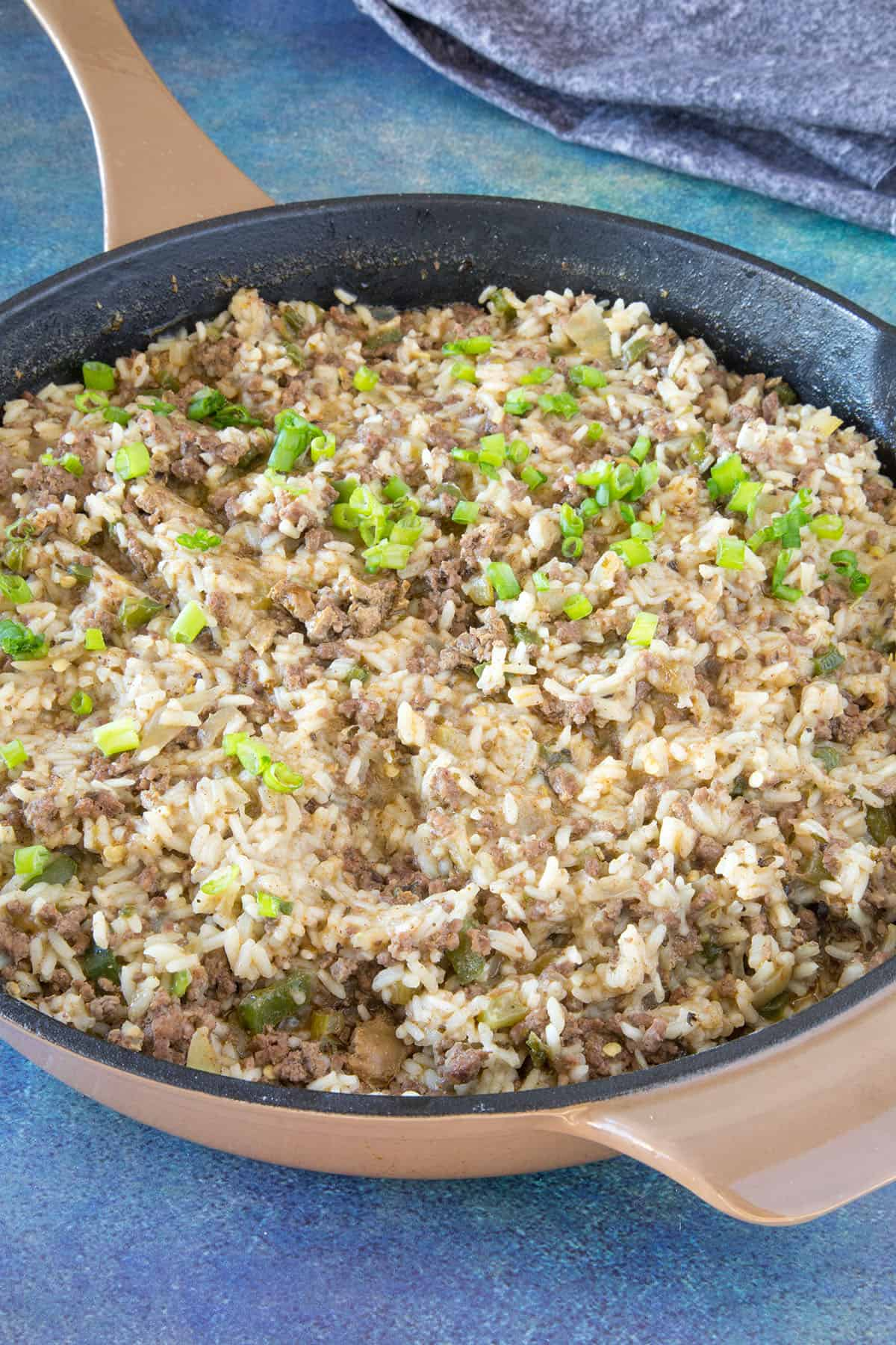 Dirty Rice in a pan, ready to serve