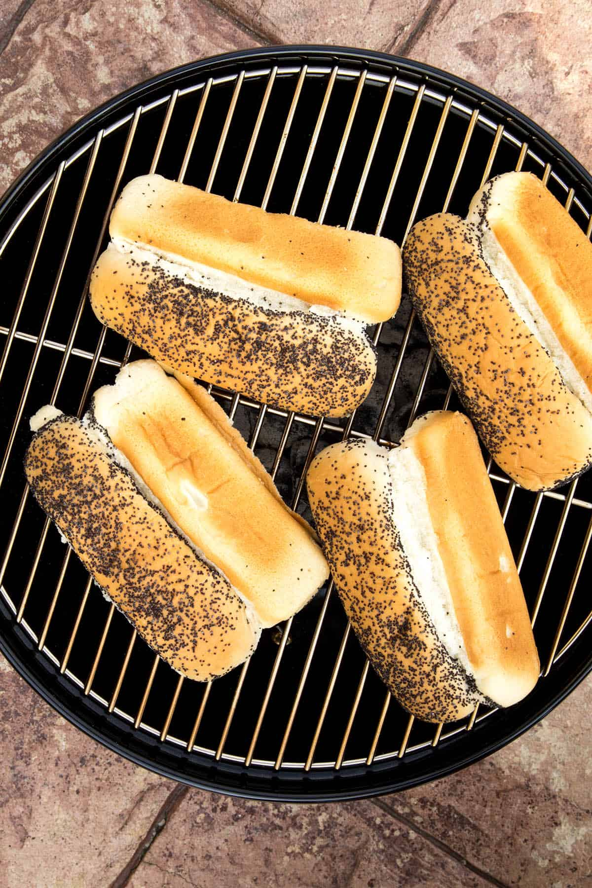 Poppy seed buns on the grill