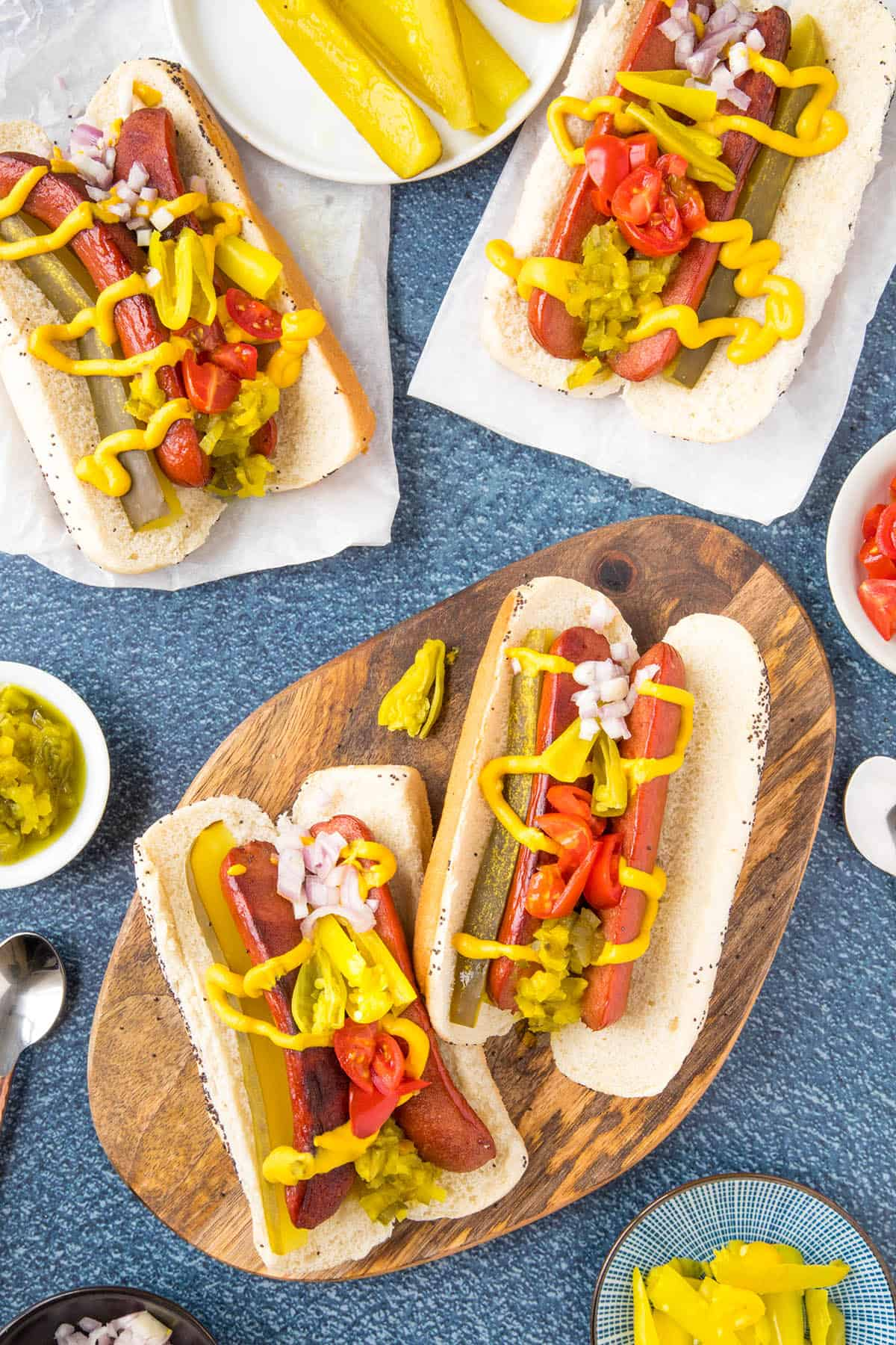 Chicago Style Hot Dogs, ready to eat