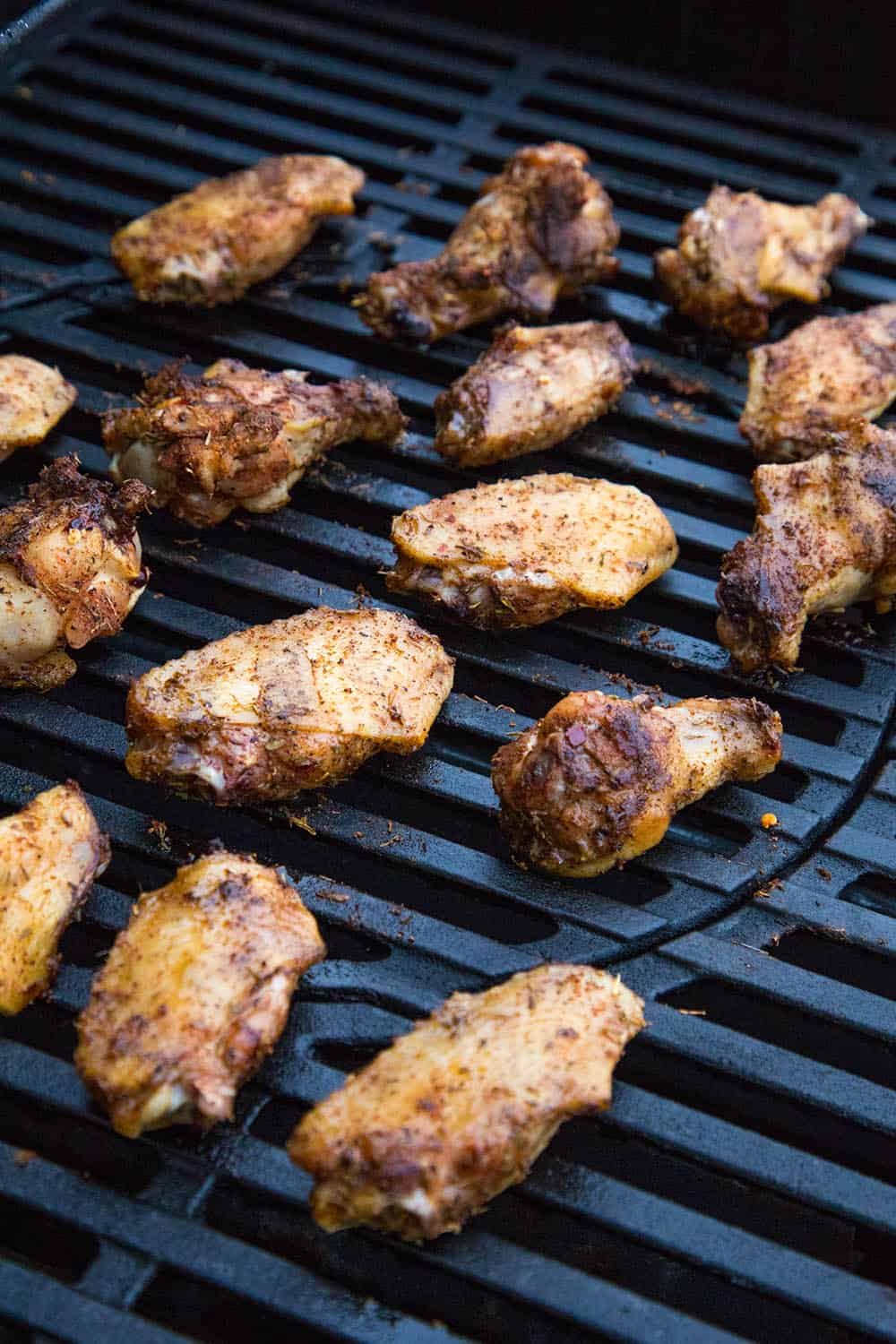 Grilled Jerk Chicken Wings on the grill