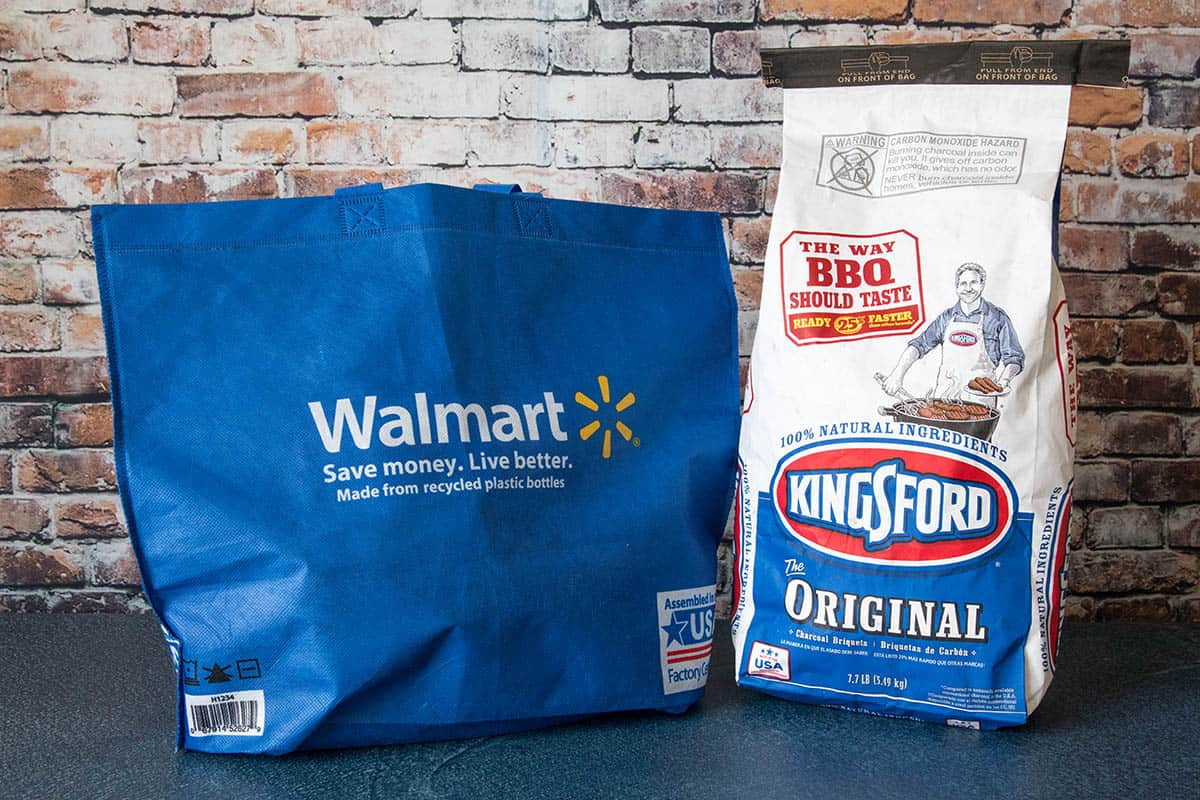 Kingsford Charcoal next to my Walmart bag
