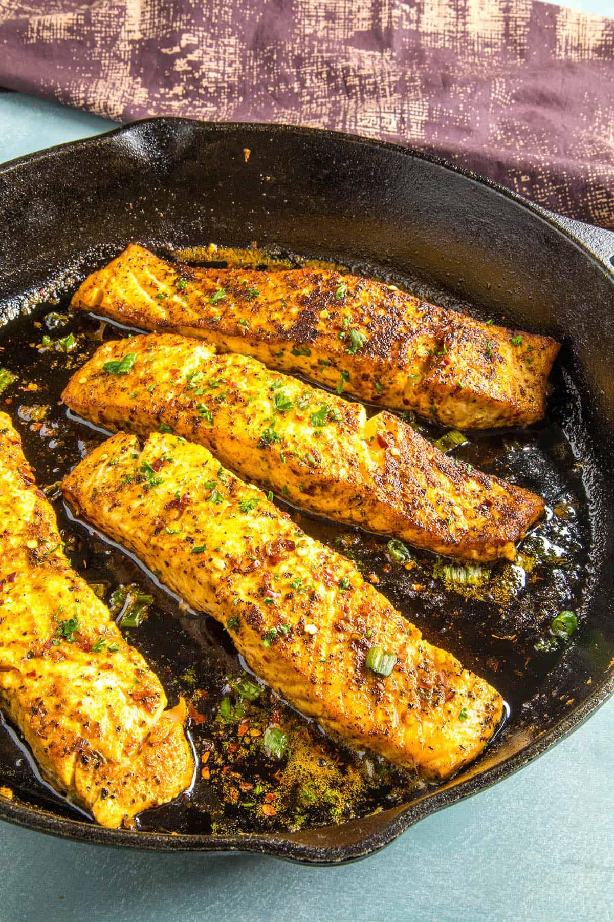 Blackened Salmon in a pan