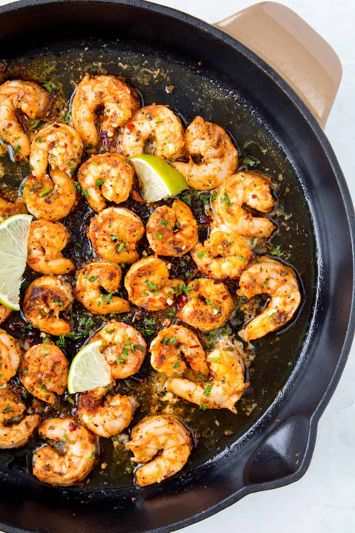 Blackened Shrimp in a pan, ready to eat