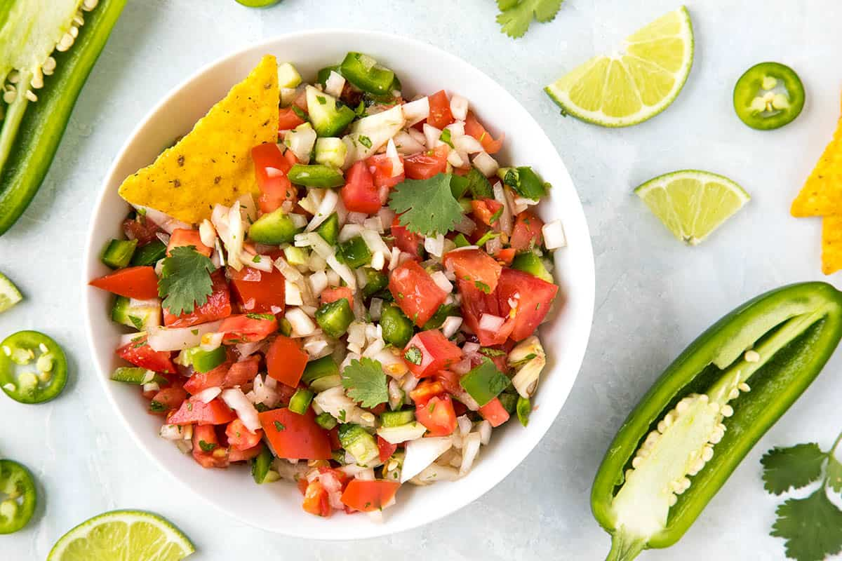 Pico de Gallo in a bowl, ready to eat