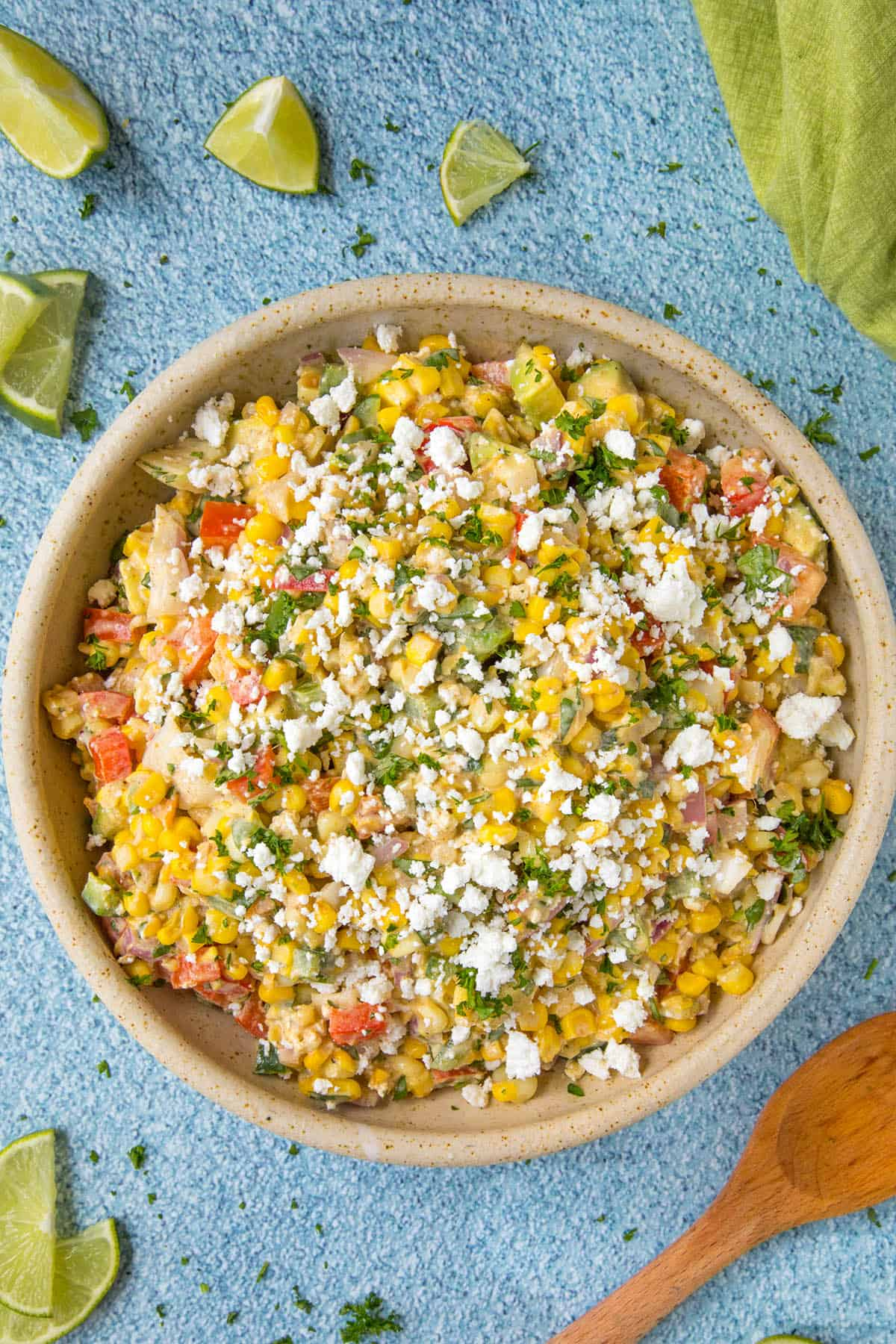 Elotes Salad in a bowl, ready to serve
