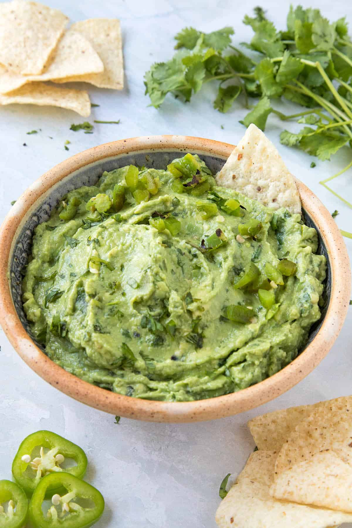 Extra Creamy Roasted Jalapeno Guacamole in a serving bowl
