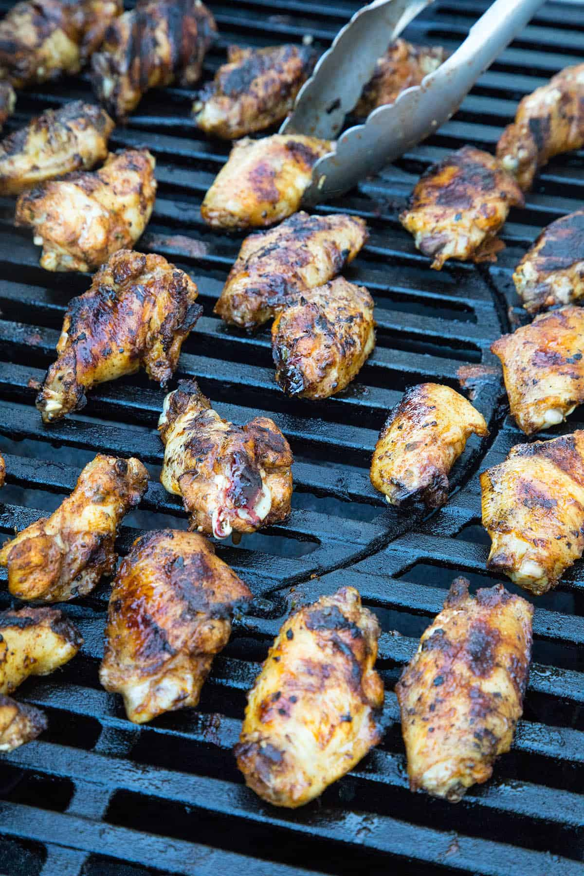 Grilling up the chicken wings