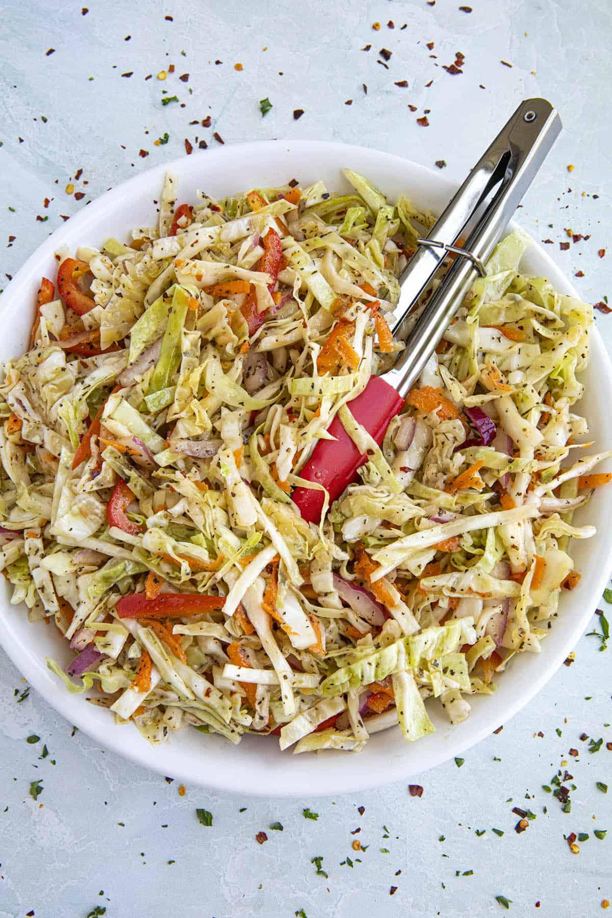 Vinegar Coleslaw in a bowl
