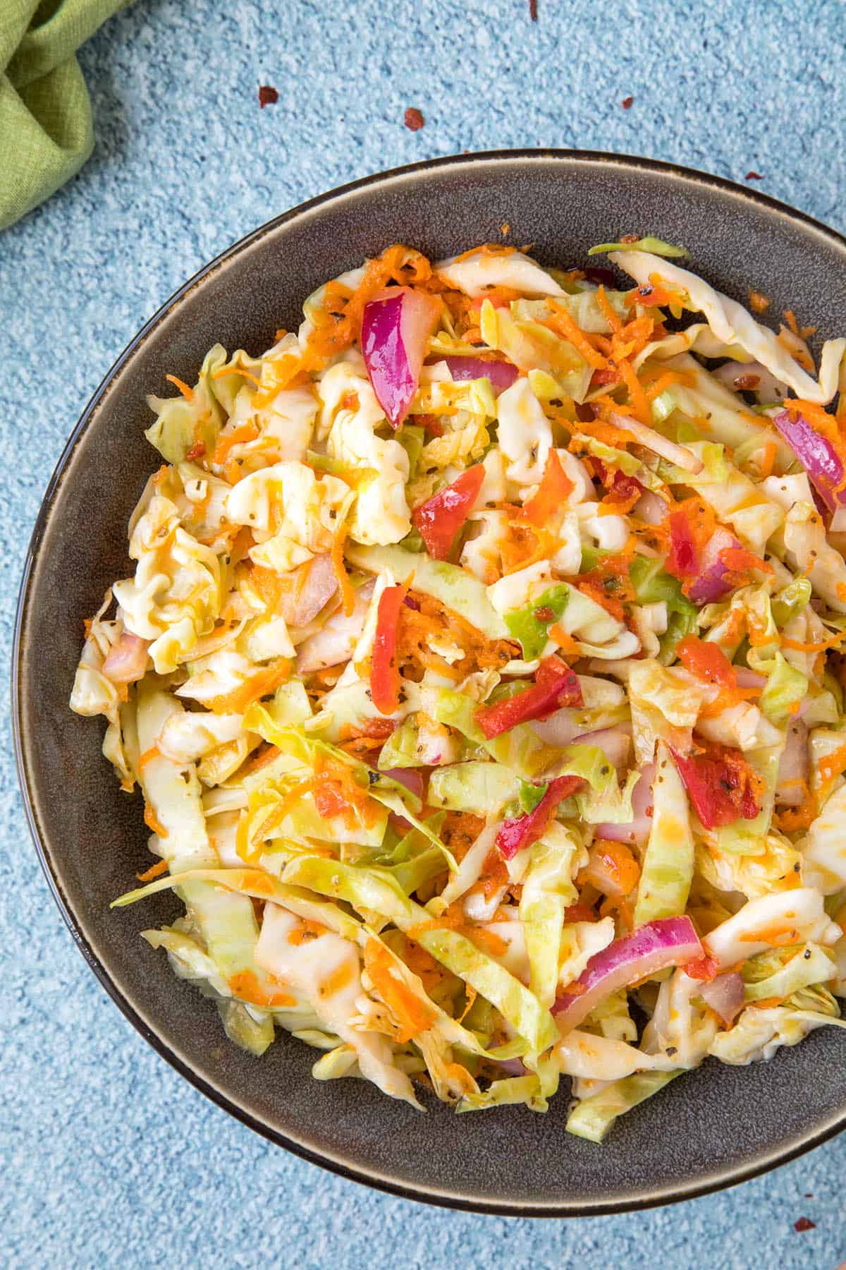 Vinegar Coleslaw in a bowl, ready to serve