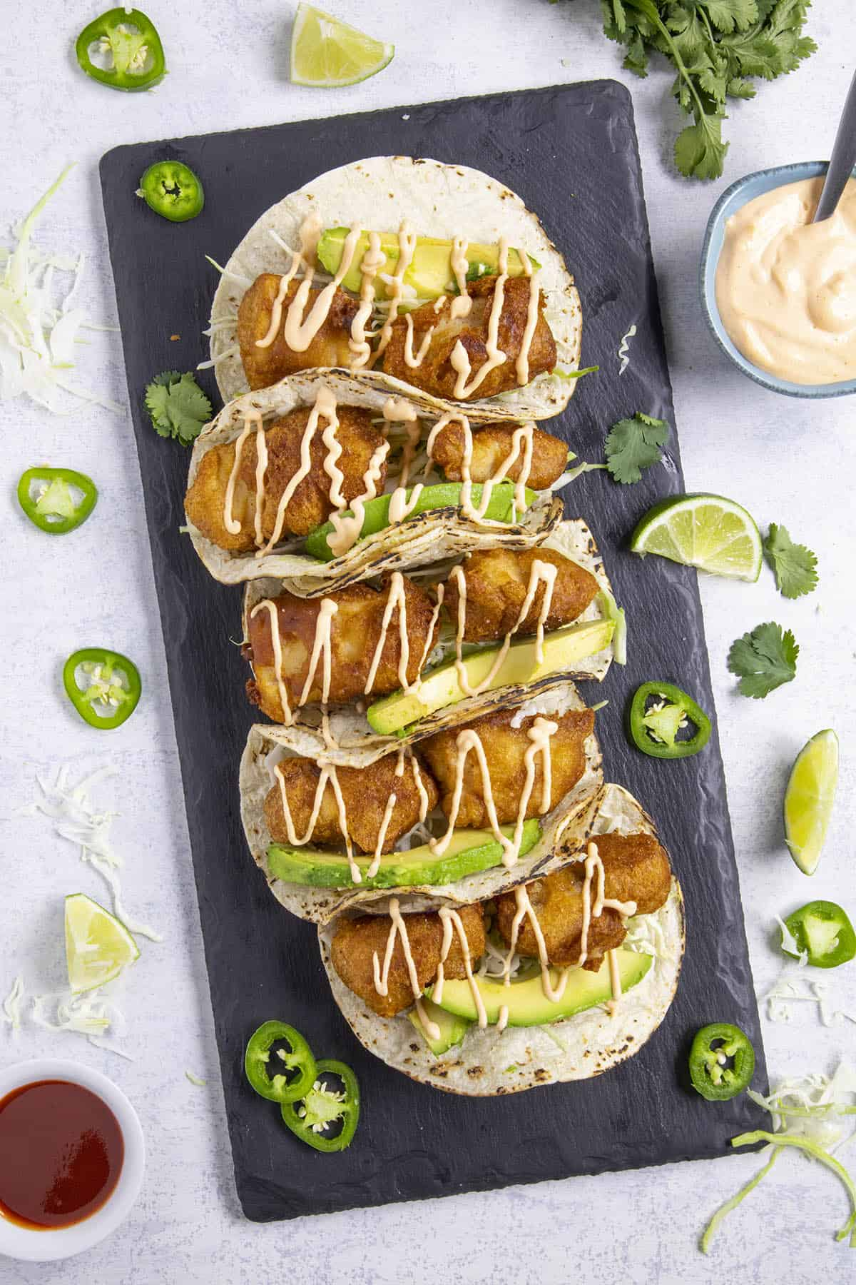 Crispy fish tacos with creamy fish taco sauce