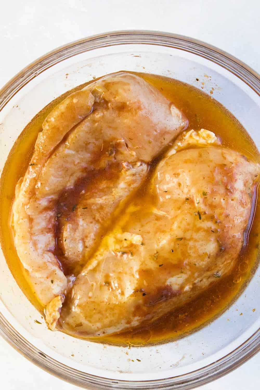 Honey Sriracha Chicken Marinating