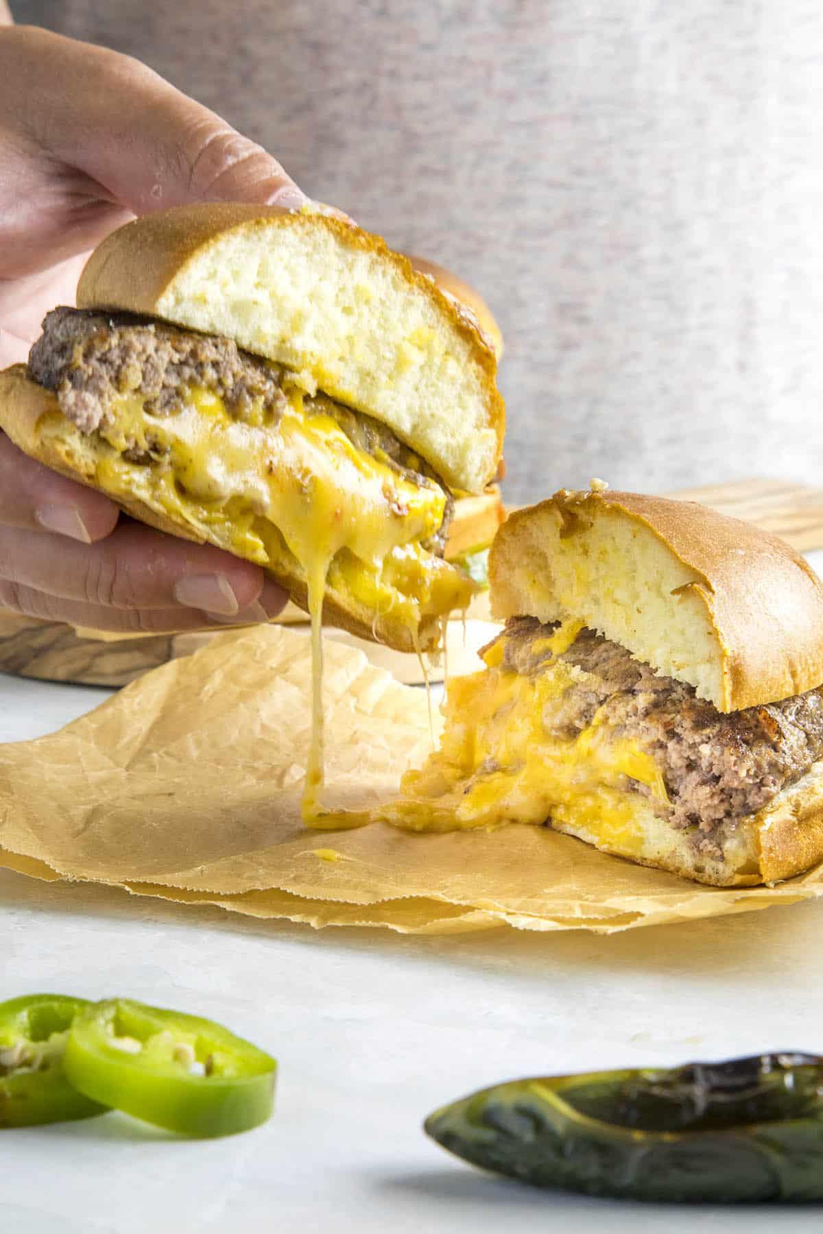 Extra gooey cheesy Juicy Lucy burgers