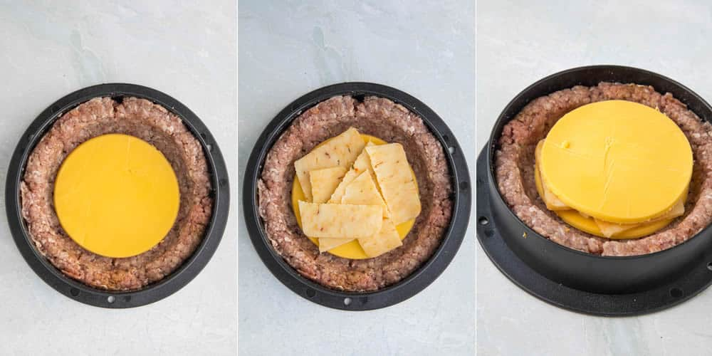 Stuffing the burgers with layers of cheese
