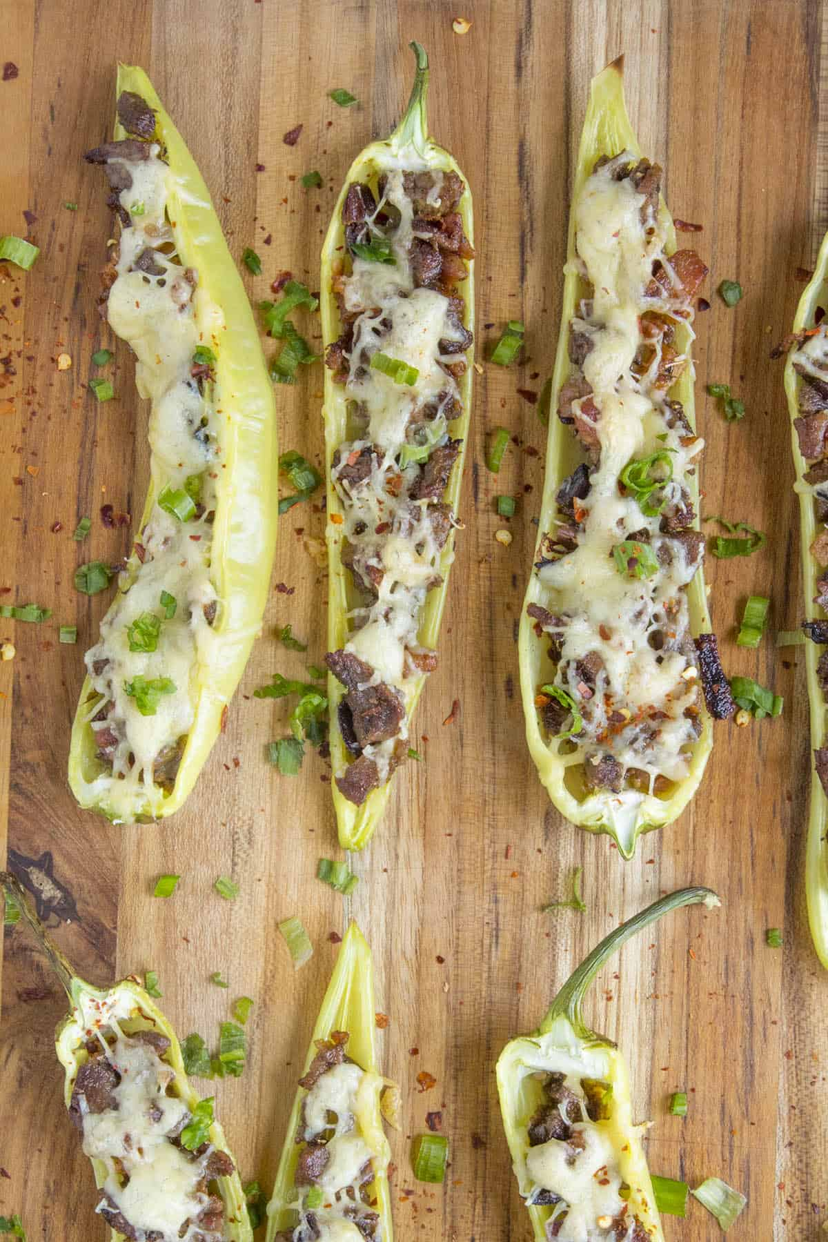Stuffed Banana Peppers sprinkled with spicy chili flakes