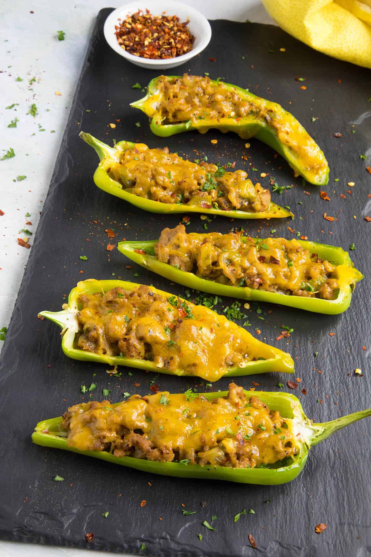 Turkey and Cheddar Stuffed Anaheim Peppers