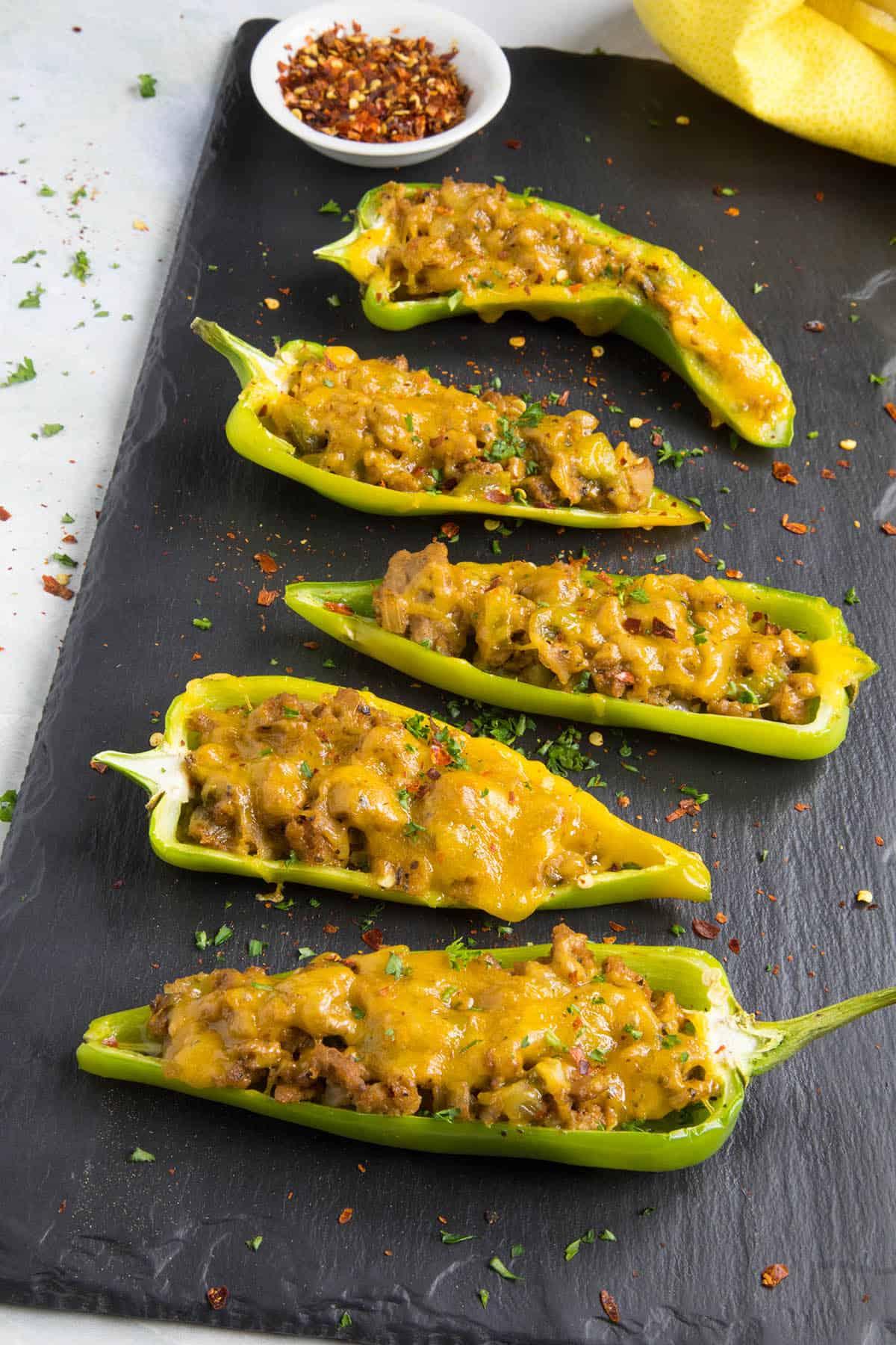 Turkey and Cheddar Stuffed Anaheim Peppers Recipe