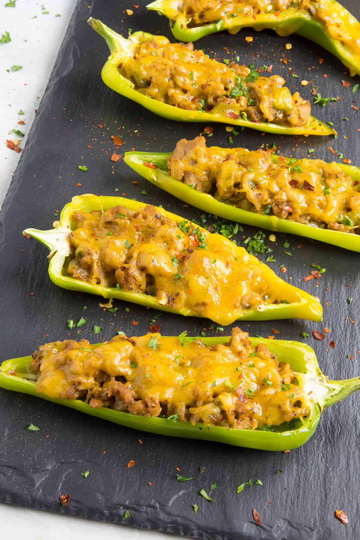 Turkey and Cheddar Stuffed Anaheim Peppers, ready to serve