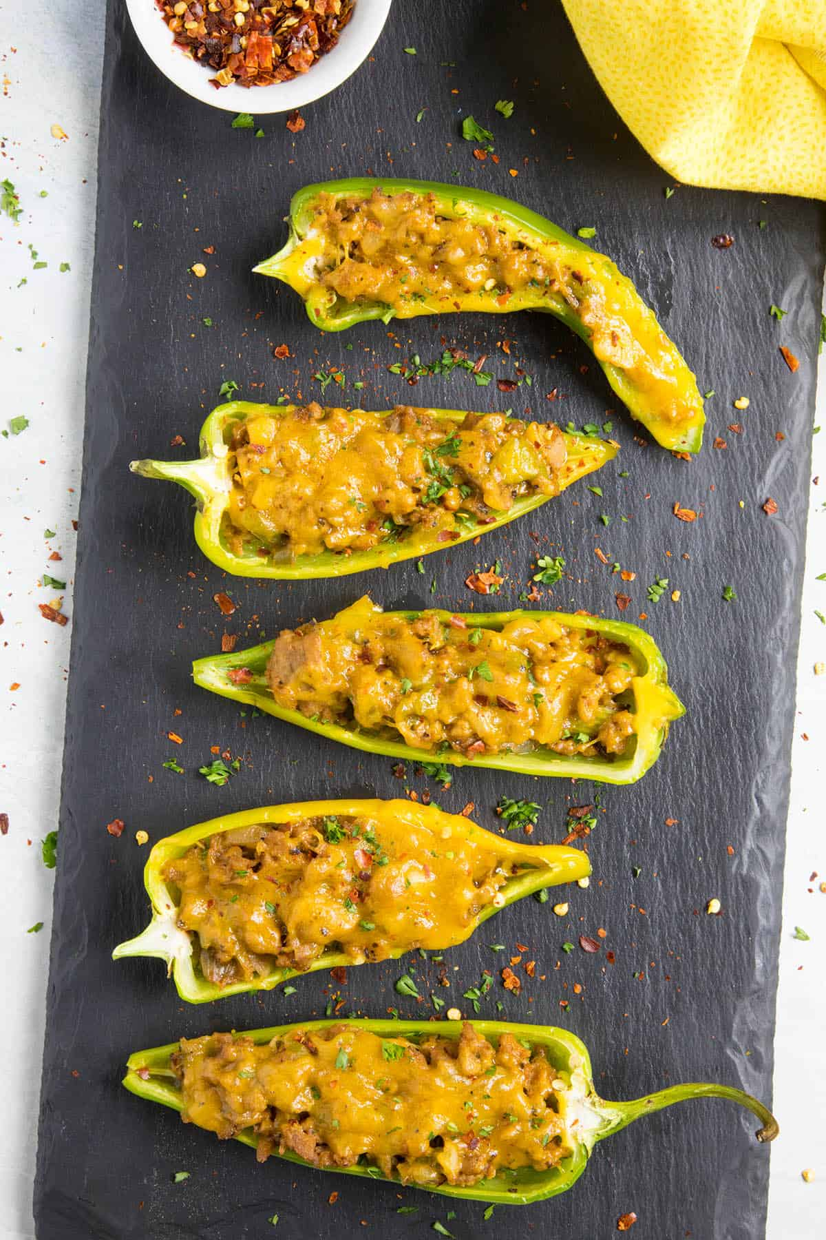 Turkey and Cheddar Stuffed Anaheim Peppers on a platter
