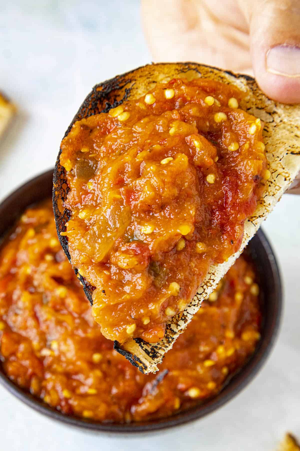 Thick and delicious Zacusca (roasted red pepper and eggplant spread) on a charred piece of bread