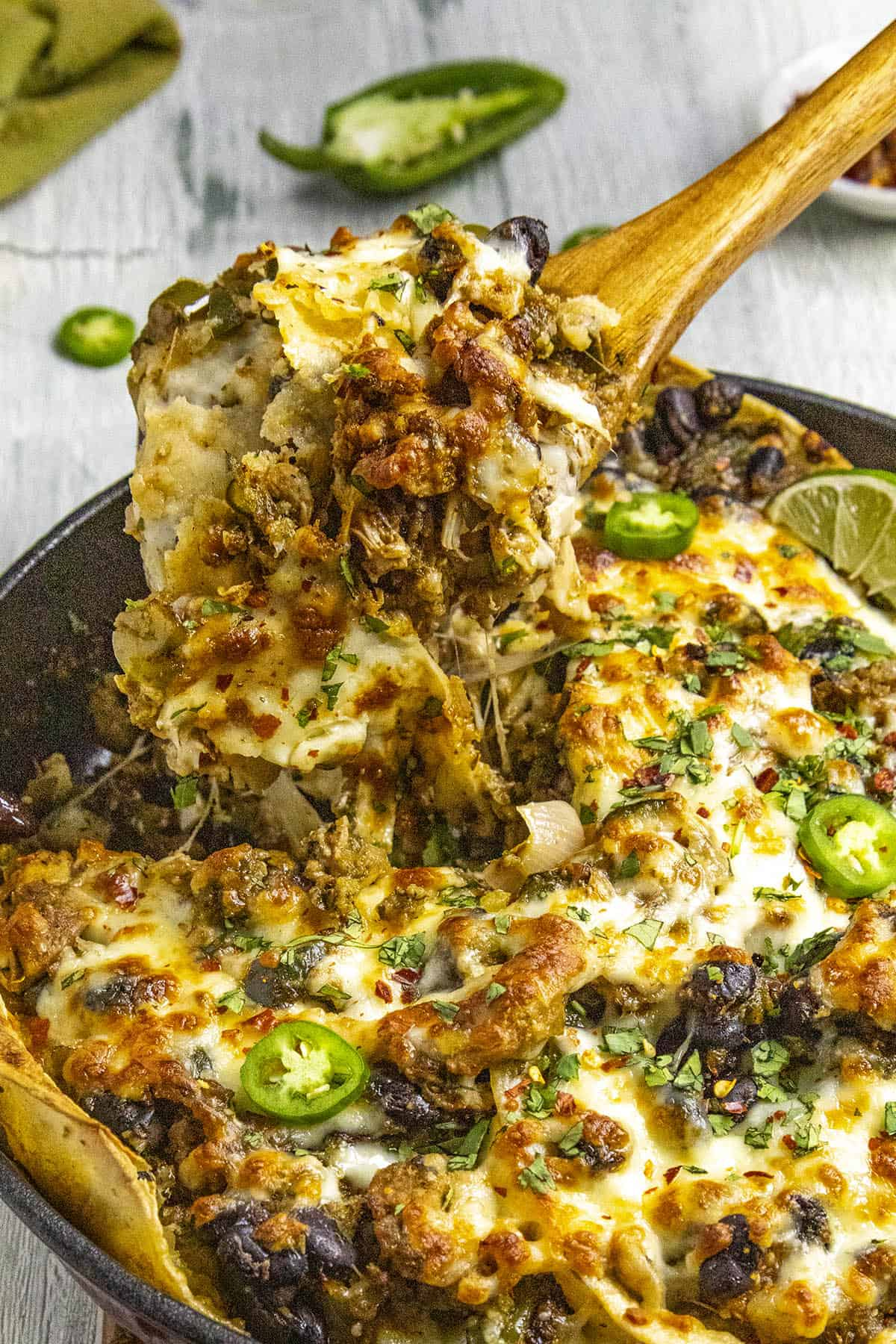 A scoop of my Chicken Enchilada Casserole Verde Recipe