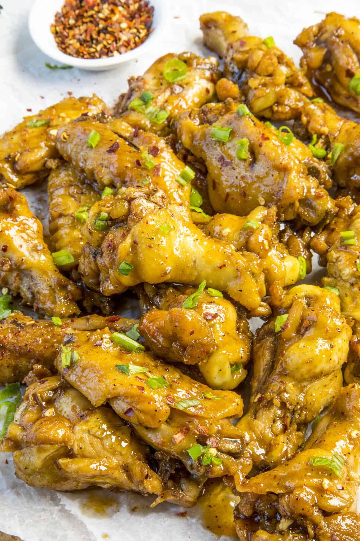 Sticky Chicken Wings, glistening with sticky sauce