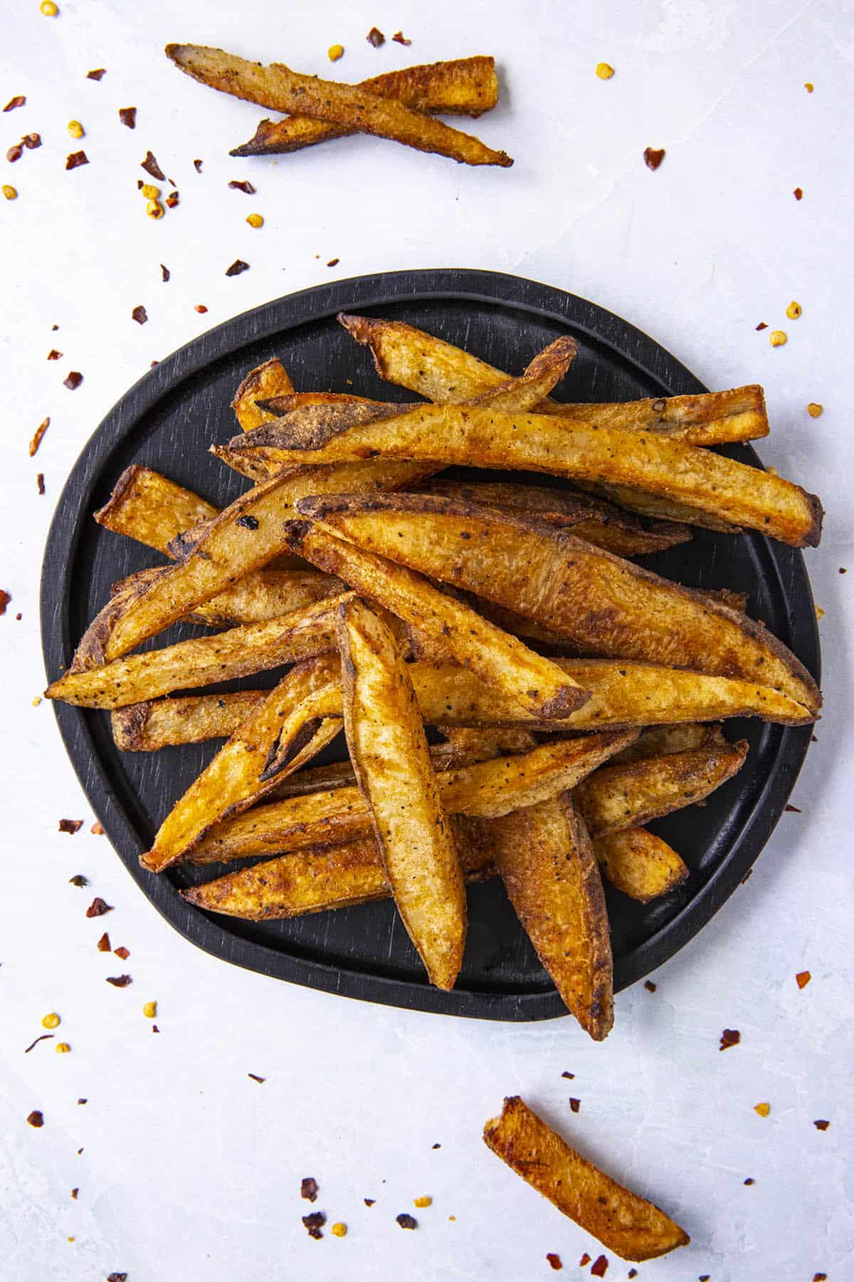 Baked Cajun Fries on a plate, ready to serve