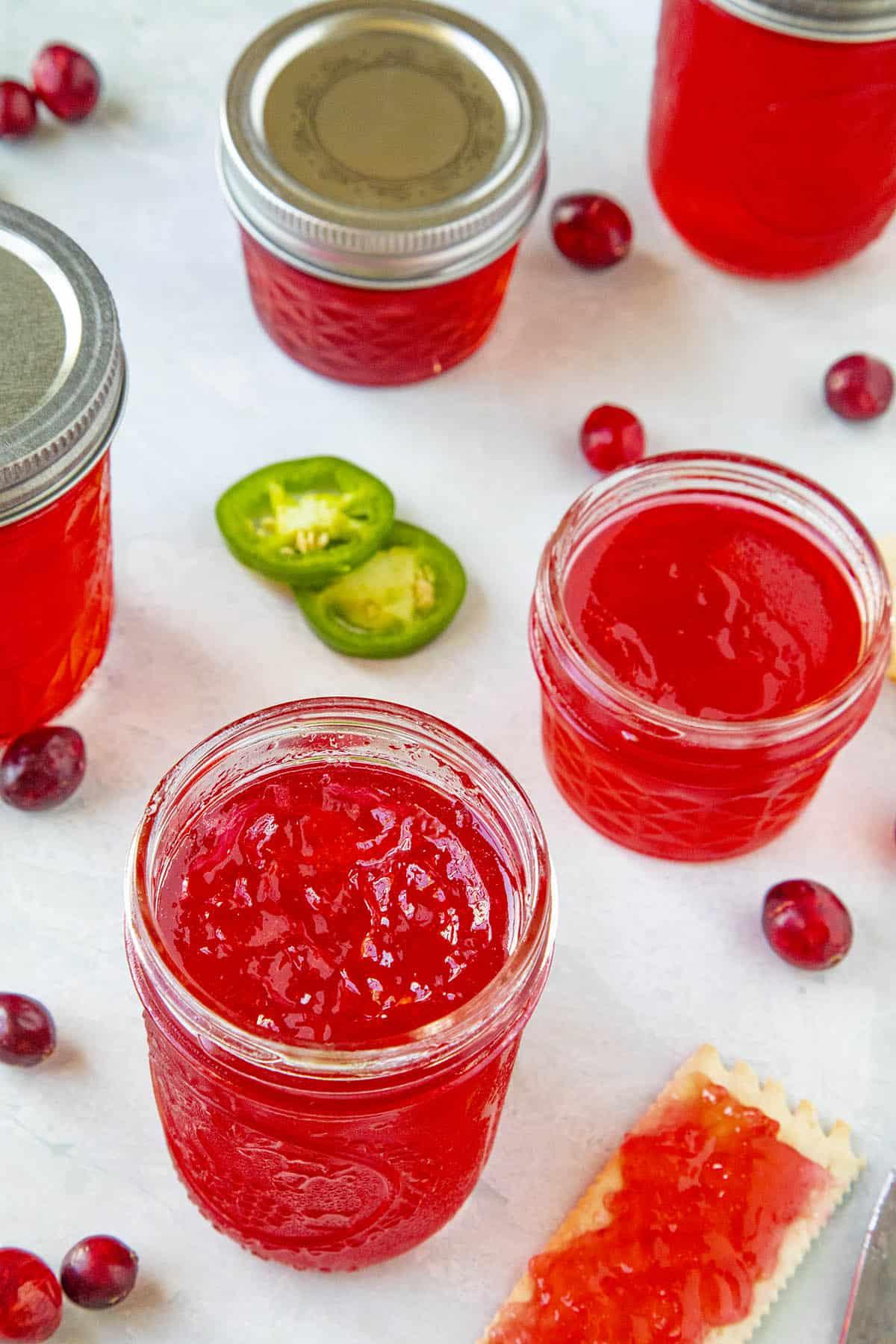 Cranberry Jalapeno Jelly, ready to serve
