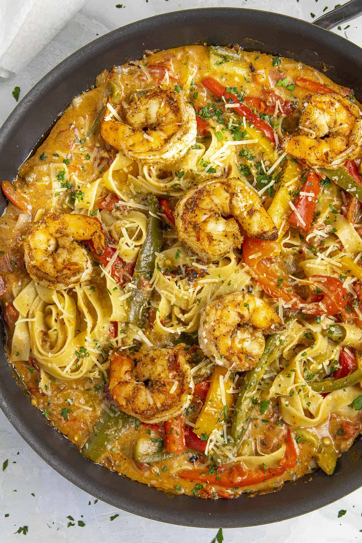 Rasta Pasta with shrimp in a pan