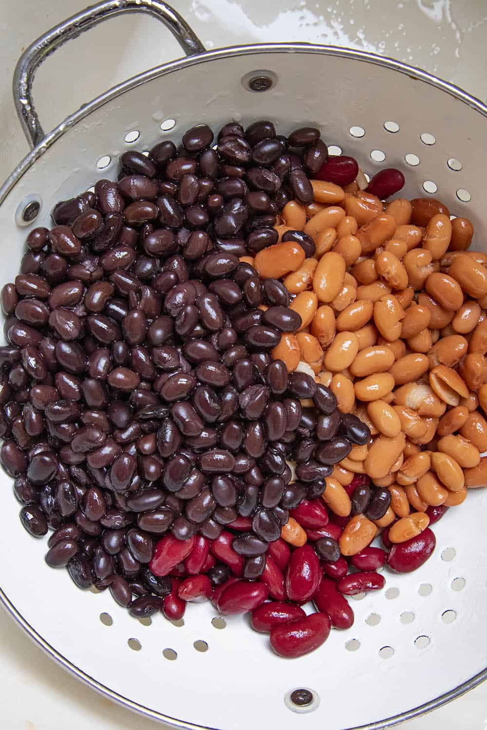 Three different types of beans for my Chunky Vegetarian Chili Recipe