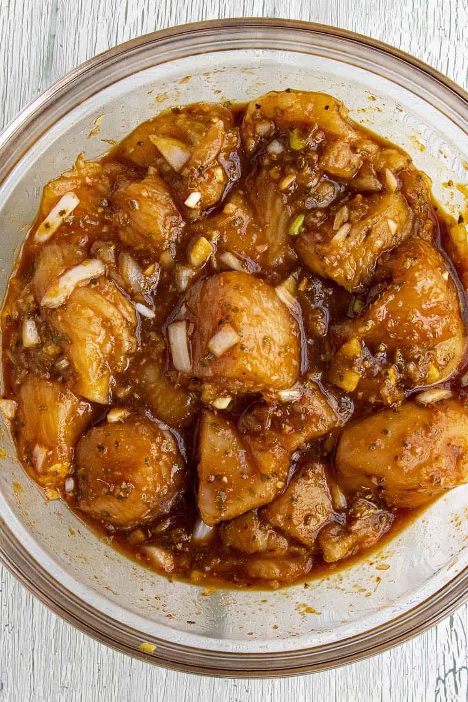 Marinating the chicken for my Thai Chicken Satay Recipe