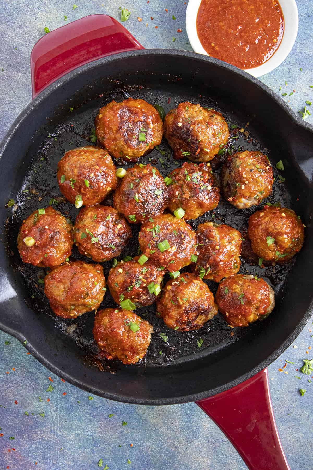 Honey Sriracha Turkey Meatballs ready to serve