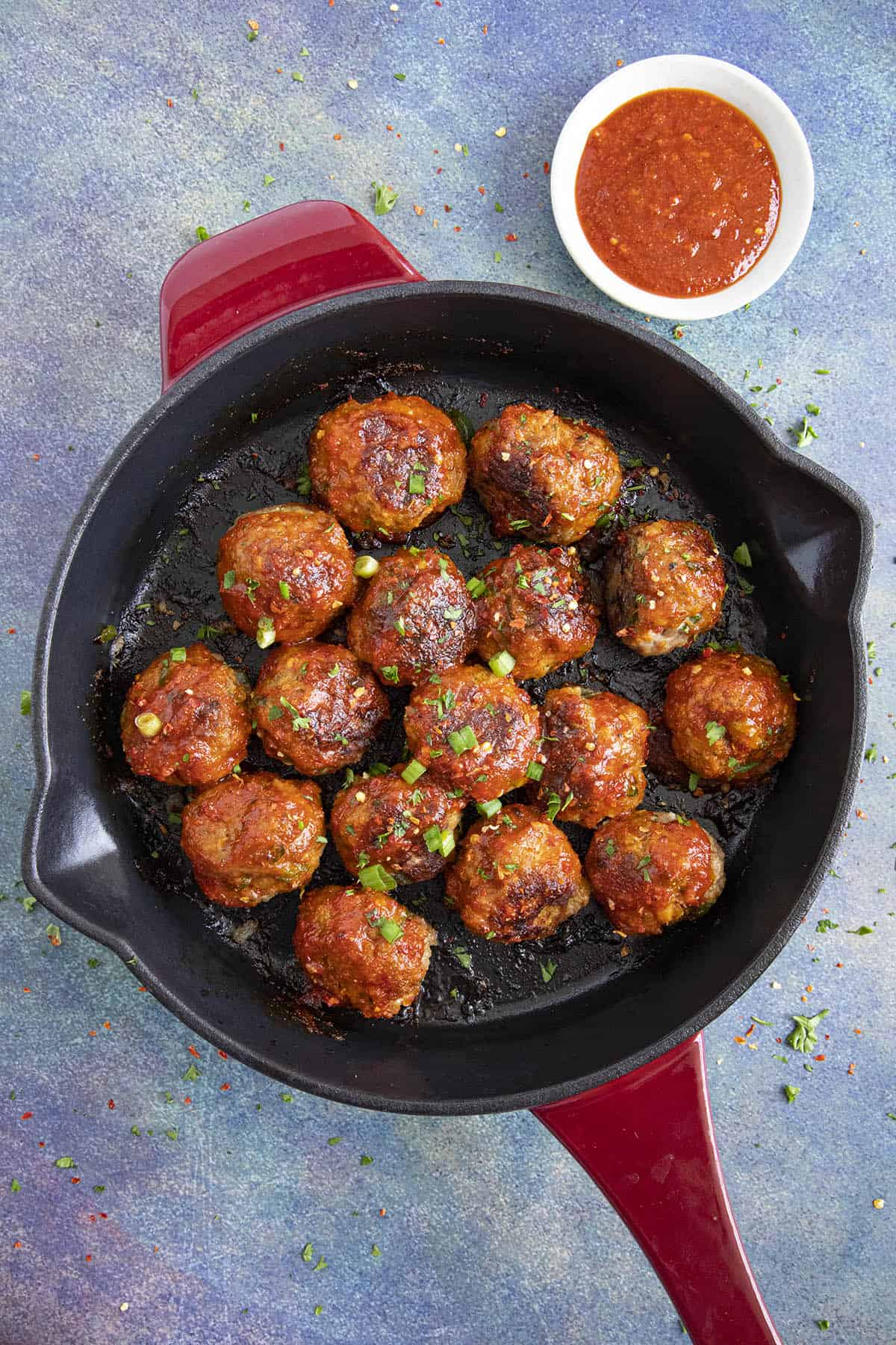 Honey Sriracha Turkey Meatballs in a pan, ready to serve