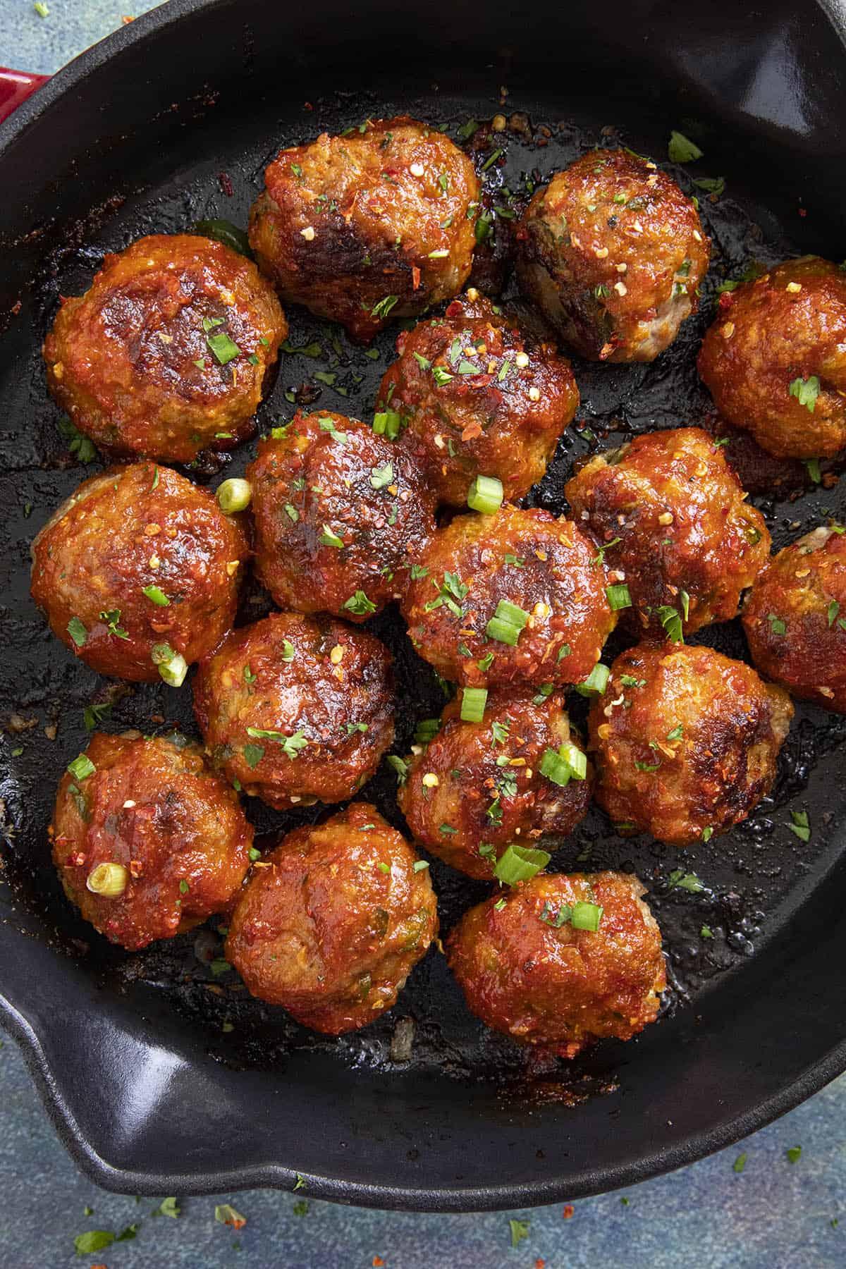 Honey Sriracha Turkey Meatballs in a pan