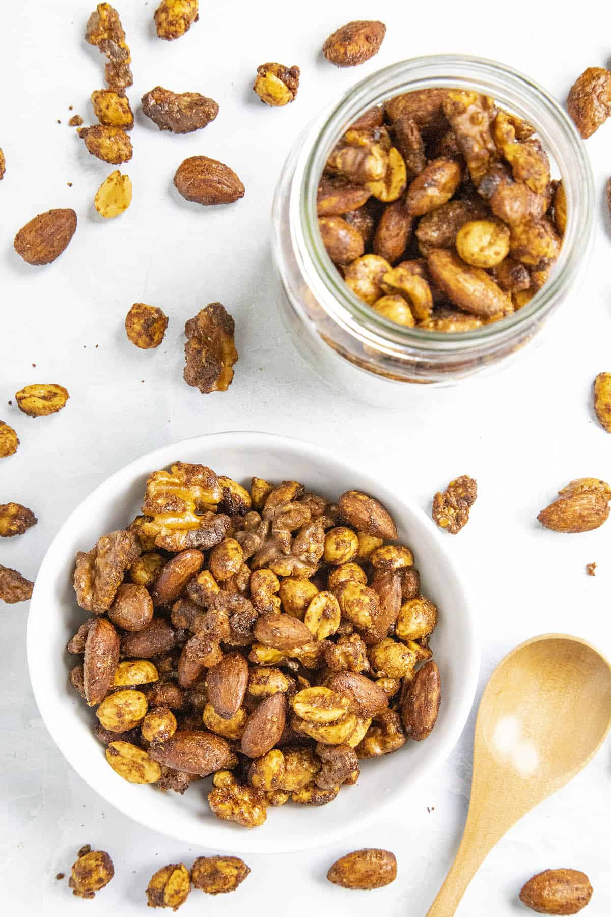 Spiced Nuts in a bowl and a jar