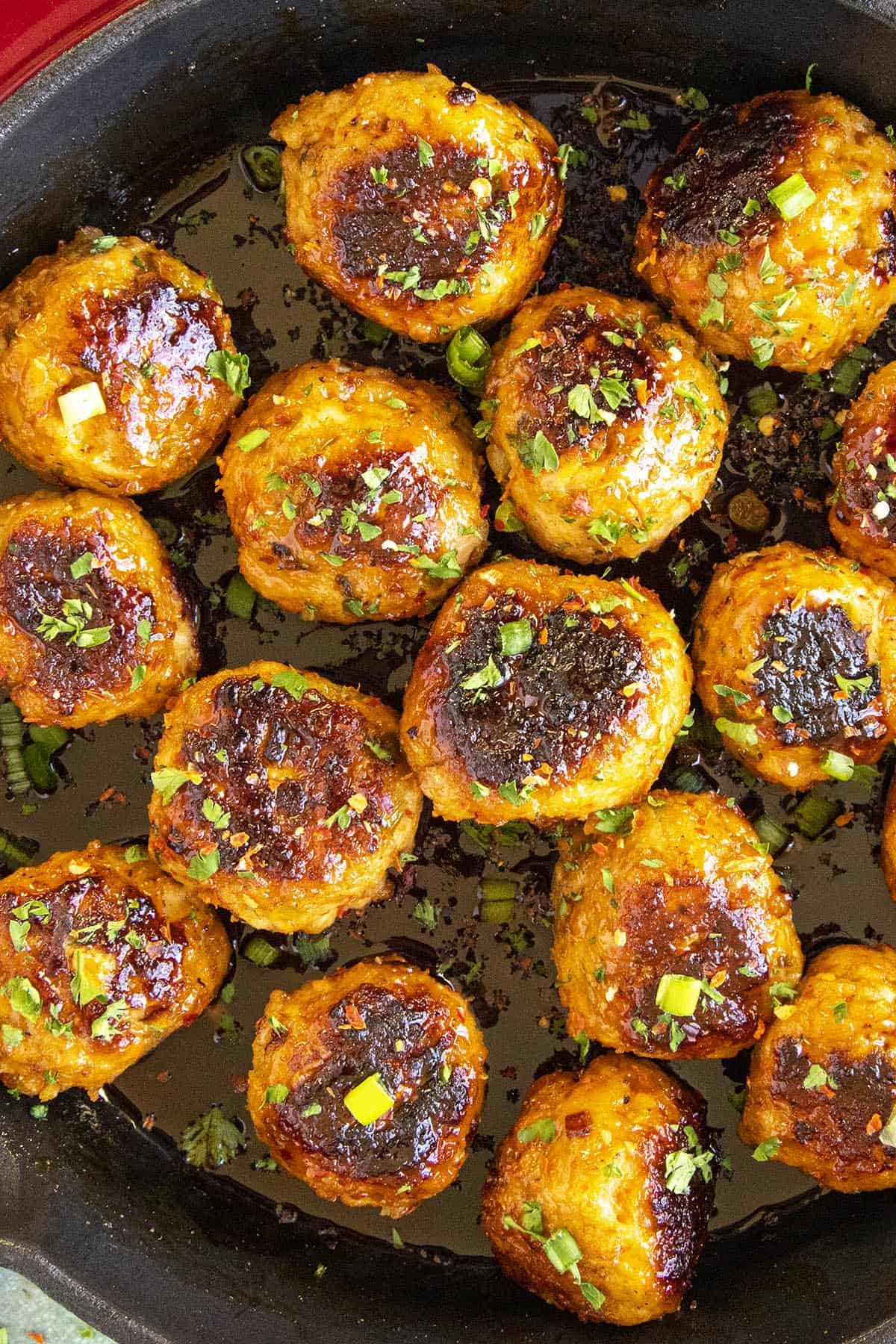 Delicious Korean Chicken Meatballs in a pan, ready to eat