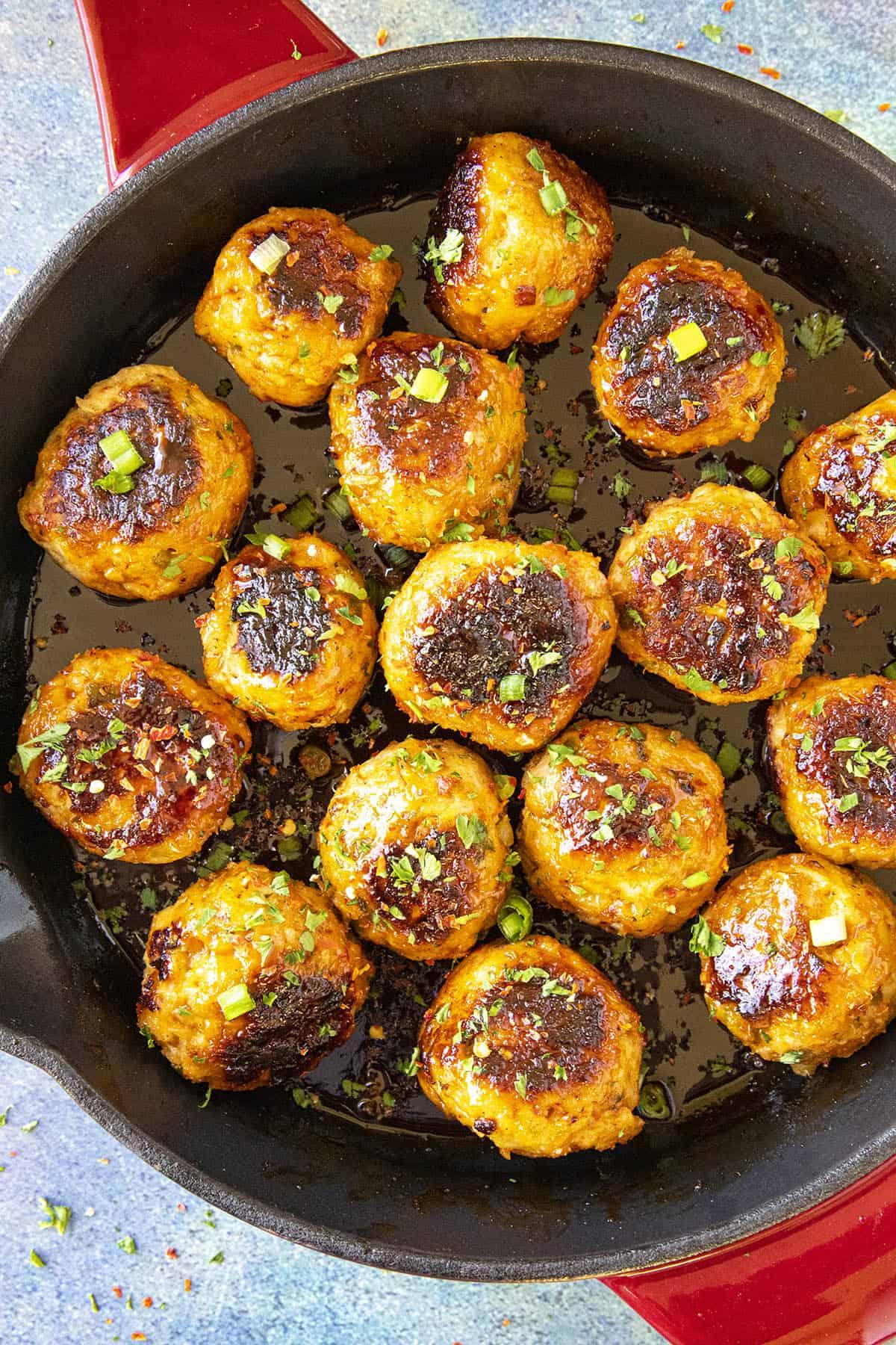 Spicy Korean Chicken Meatballs in a pan
