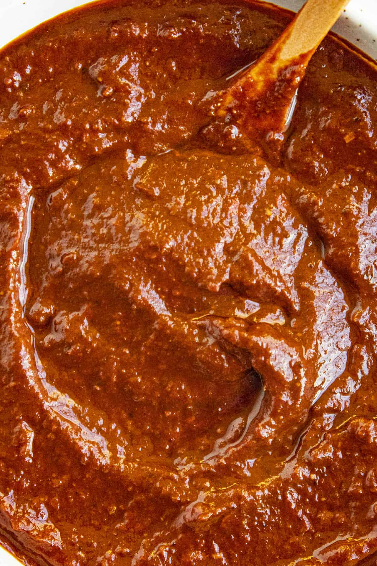 Showing the texture of the Mexican adobo sauce