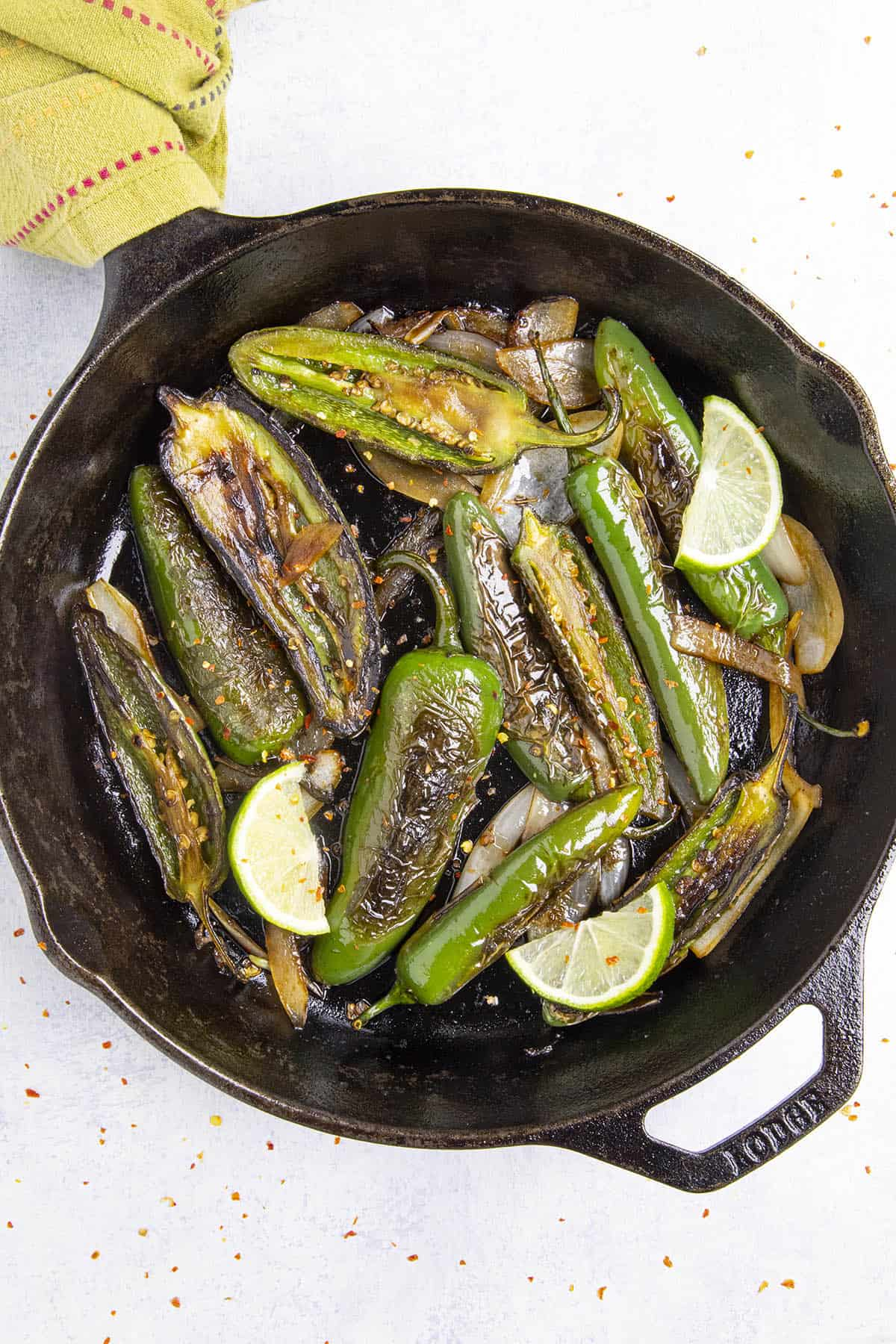 Chiles Toreados, or blistered chiles, just off the stove top
