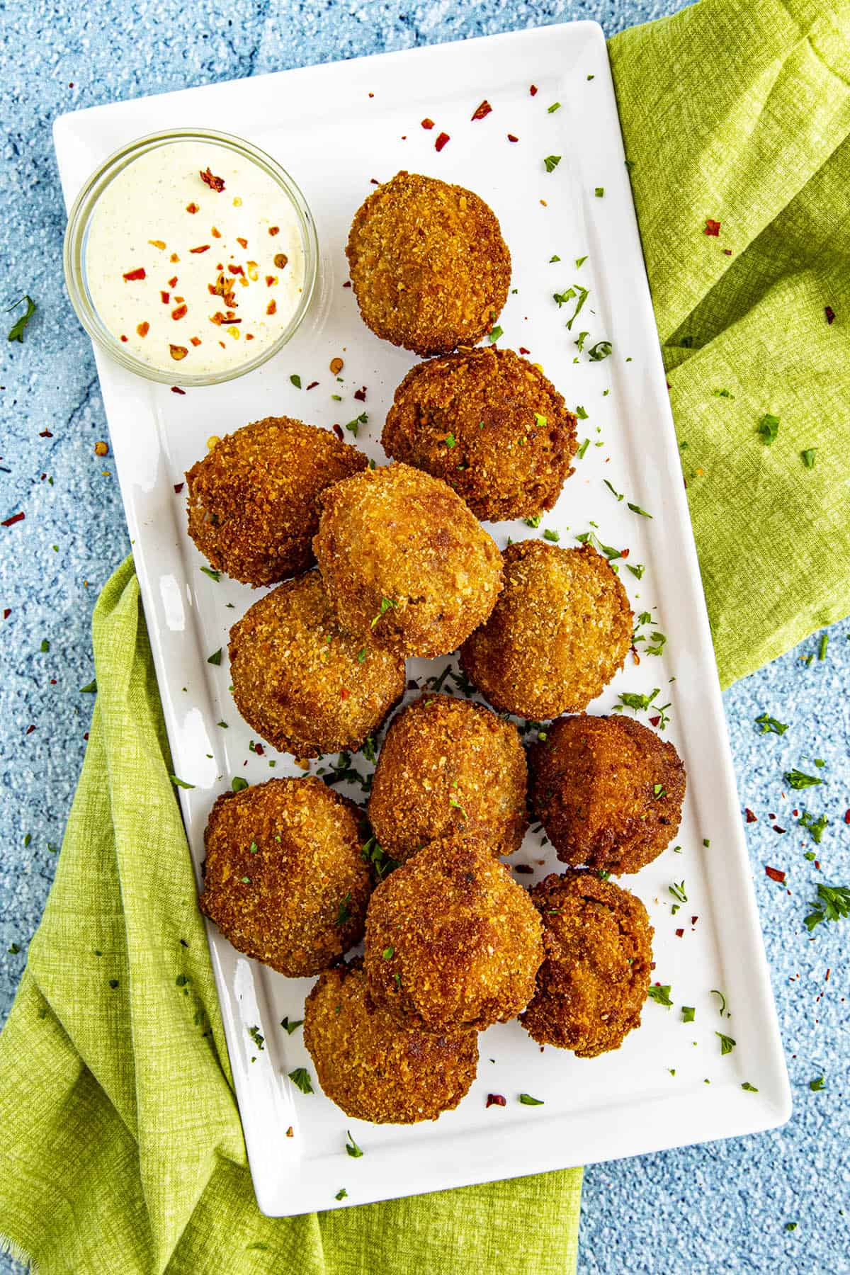 Boudin balls on a plate, ready to serve