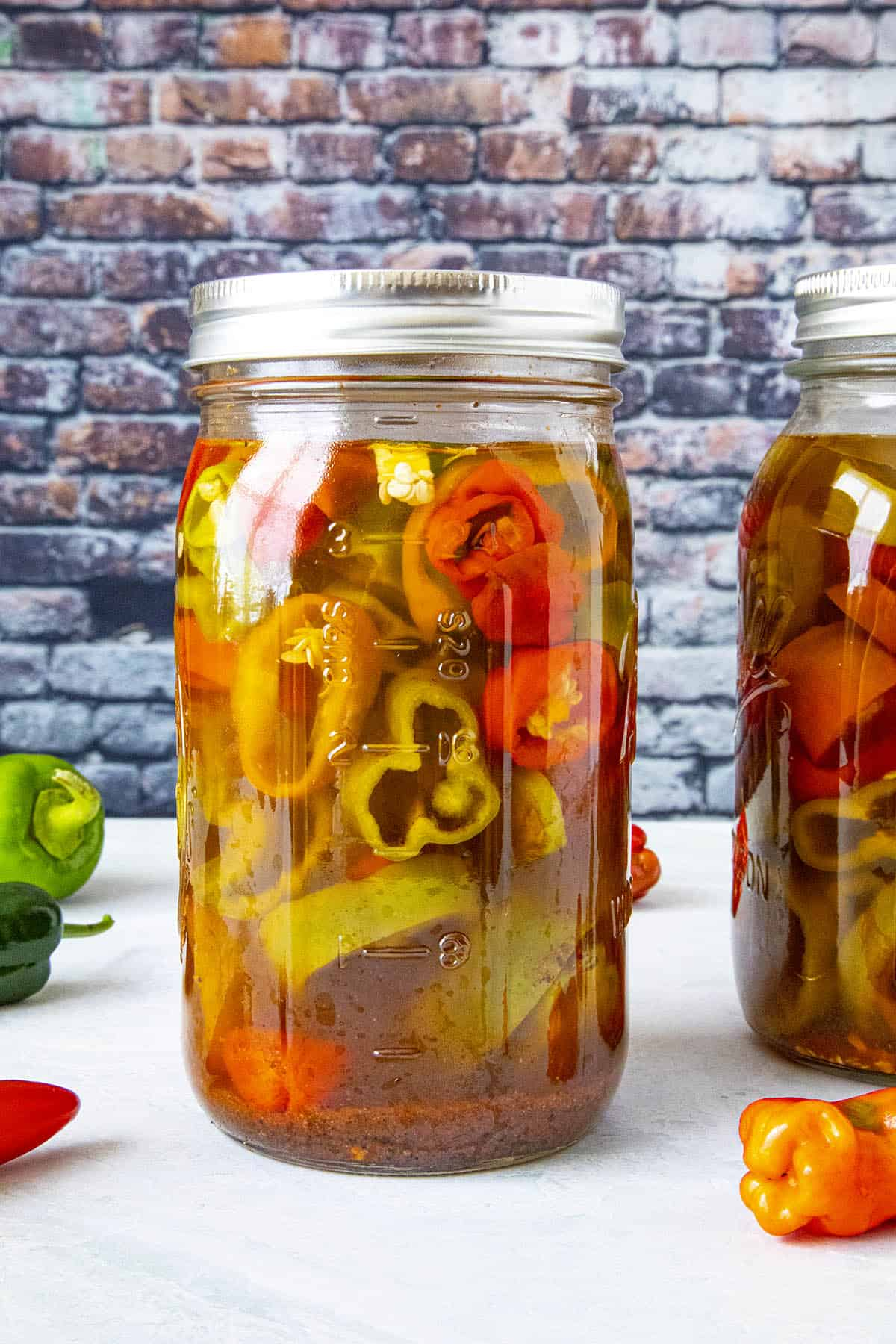 A big jar of pickled peppers