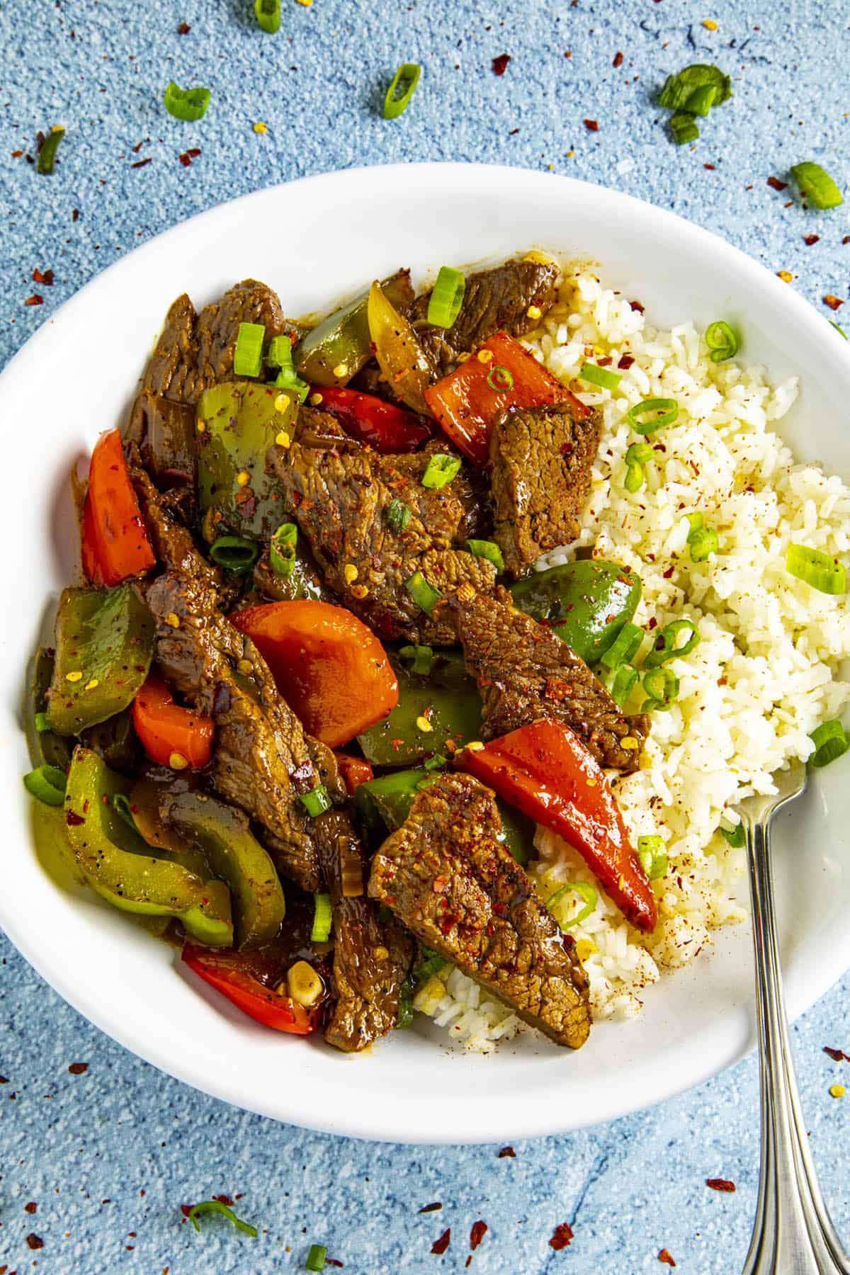 Pepper Steak in a bowl over rice