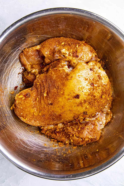 Seasoned chicken in a bowl