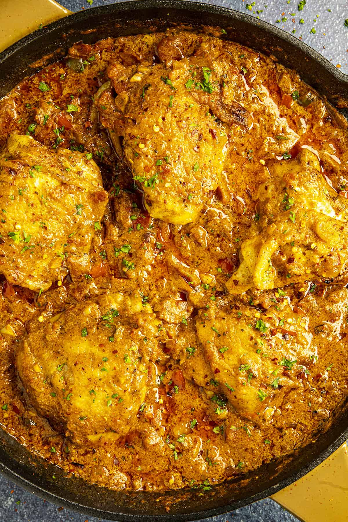 Chicken Paprikash in a hot pan