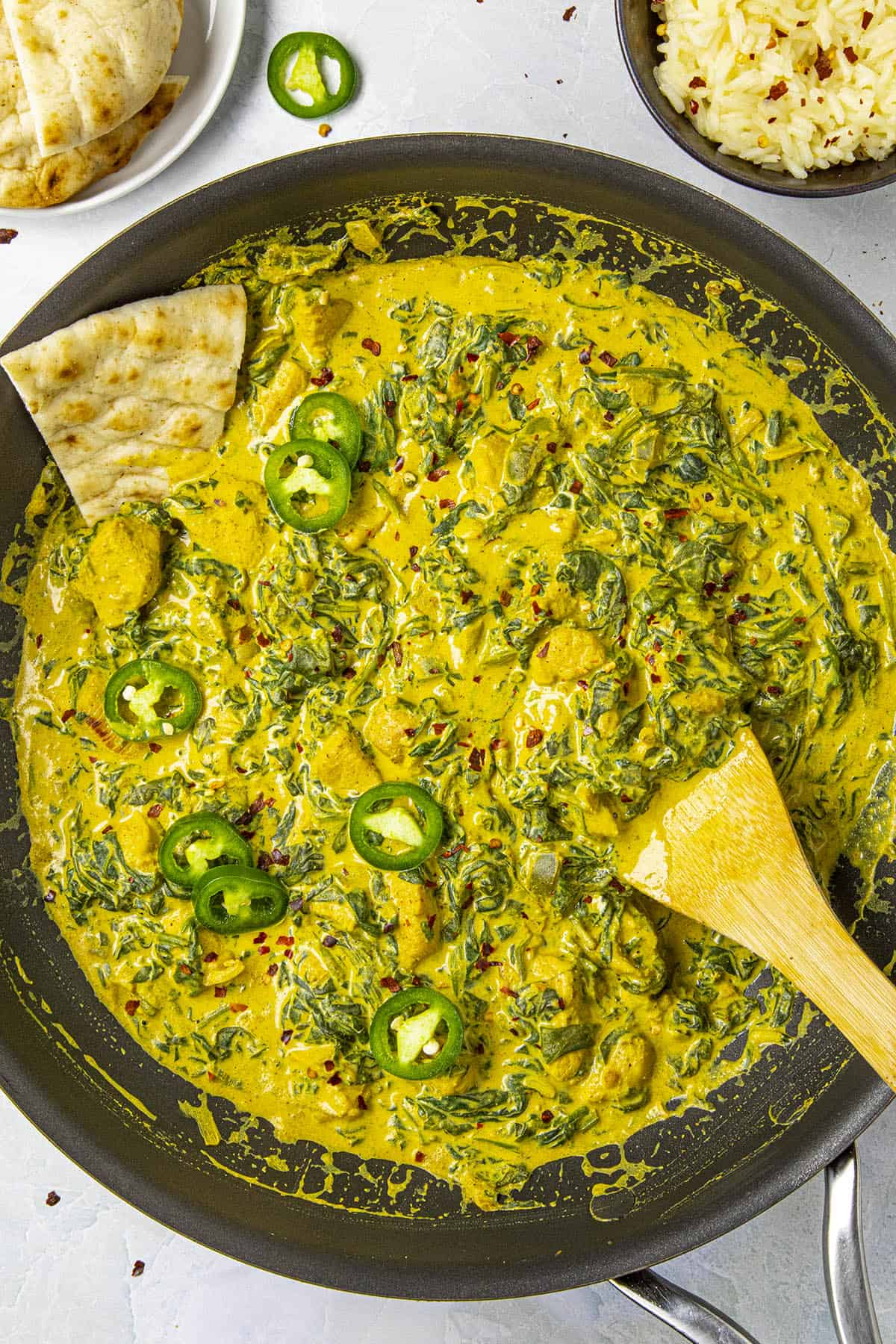 Chicken Saag in a hot pan, ready to serve
